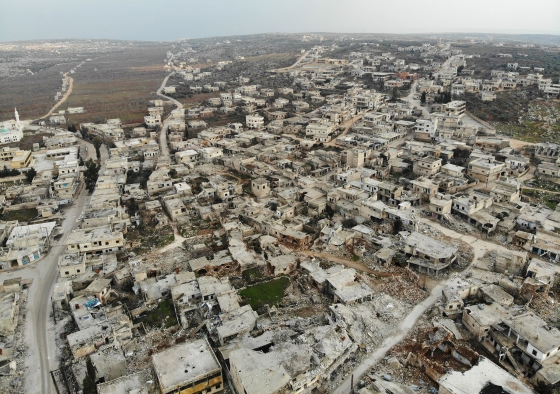 Destroyed buildings in the Syrian town of Ihsim, in the southern countryside of Idlib, on Feb. 19, 2020.
