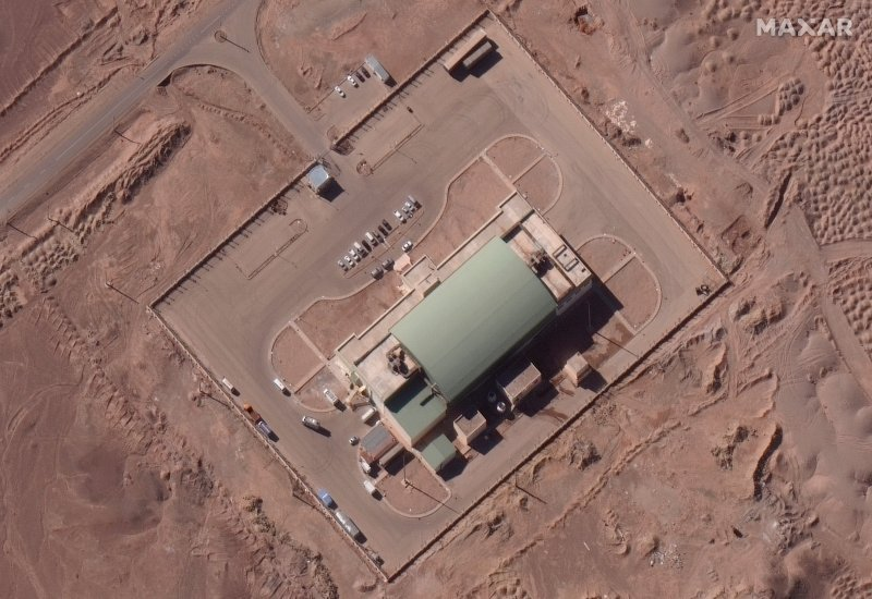 This satellite image from Maxar Technologies, shows activity at the Imam Khomeini Space Center in Iran's Semnan province, on Feb. 4, 2020.