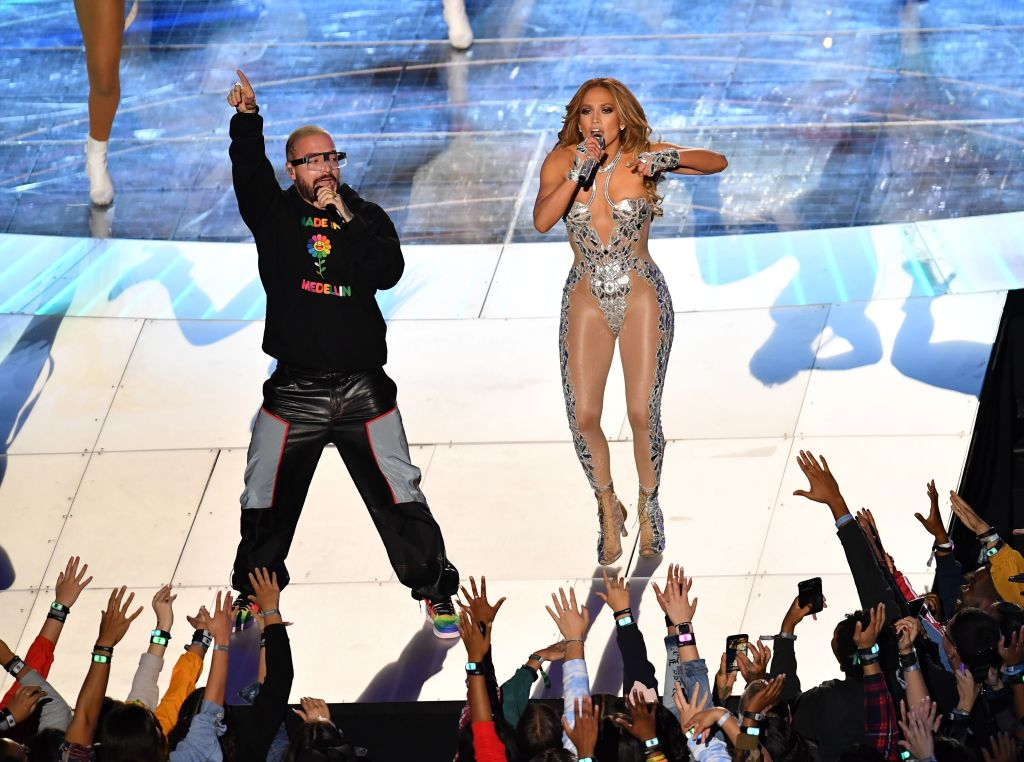Jennifer Lopez and Colombian singer J Balvin perform during the halftime show of Super Bowl LIV between the Kansas City Chiefs and the San Francisco 49ers at Hard Rock Stadium in Miami Gardens, Florida, on February 2, 2020.