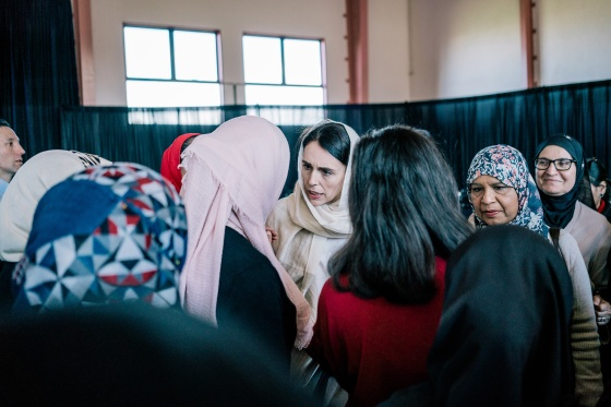Ardern at an Islamic Women's Council of New Zealand conference in Auckland in August