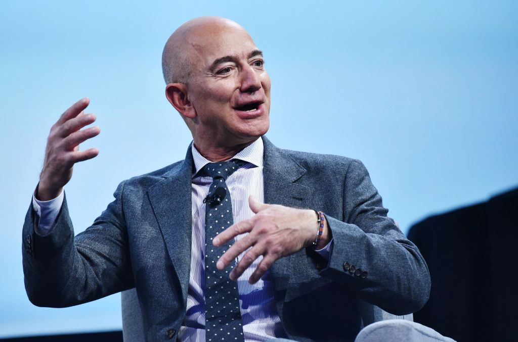 Jeff Bezos speaks after receiving the 2019 International Astronautical Federation (IAF) Excellence in Industry Award during the the 70th International Astronautical Congress at the Walter E. Washington Convention Center in Washington, DC on October 22, 2019.