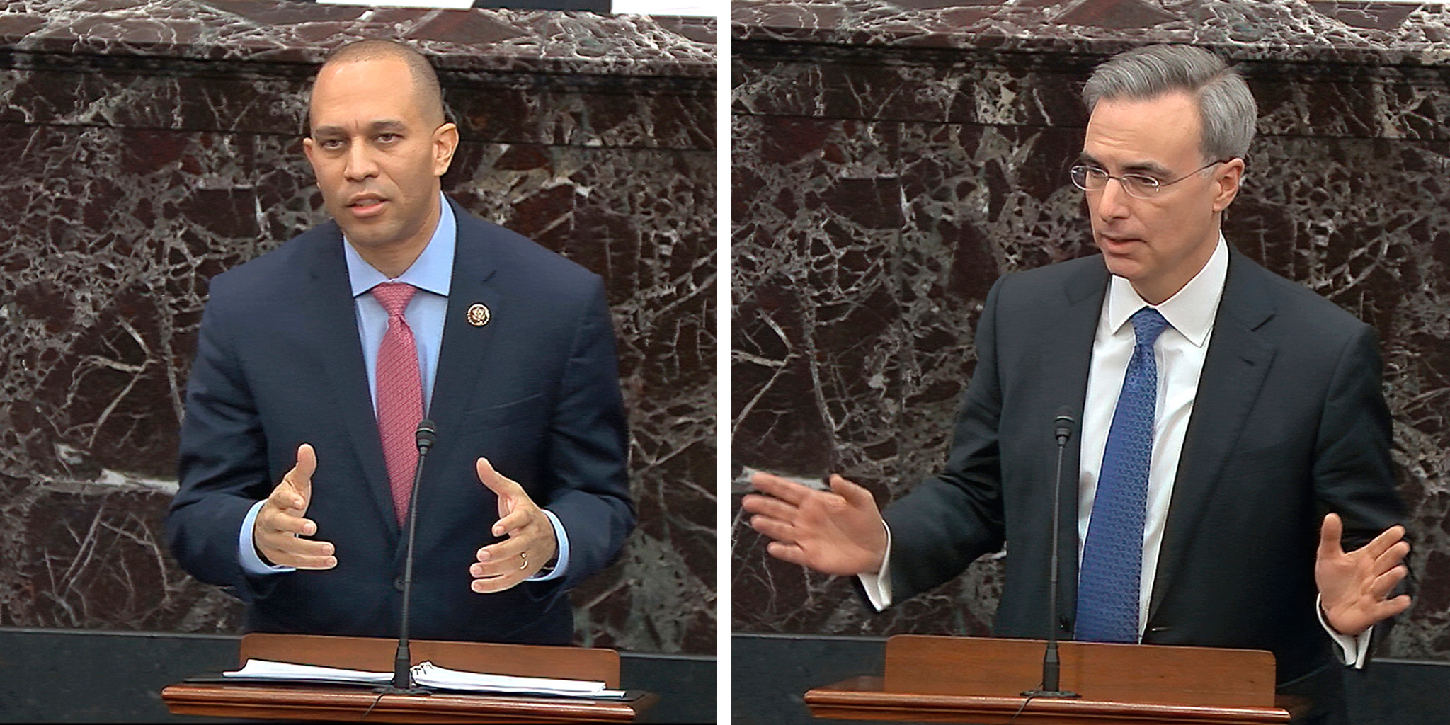 House impeachment manager Rep. Hakeem Jeffries, D-N.Y. and White House counsel Pat Cipollone.