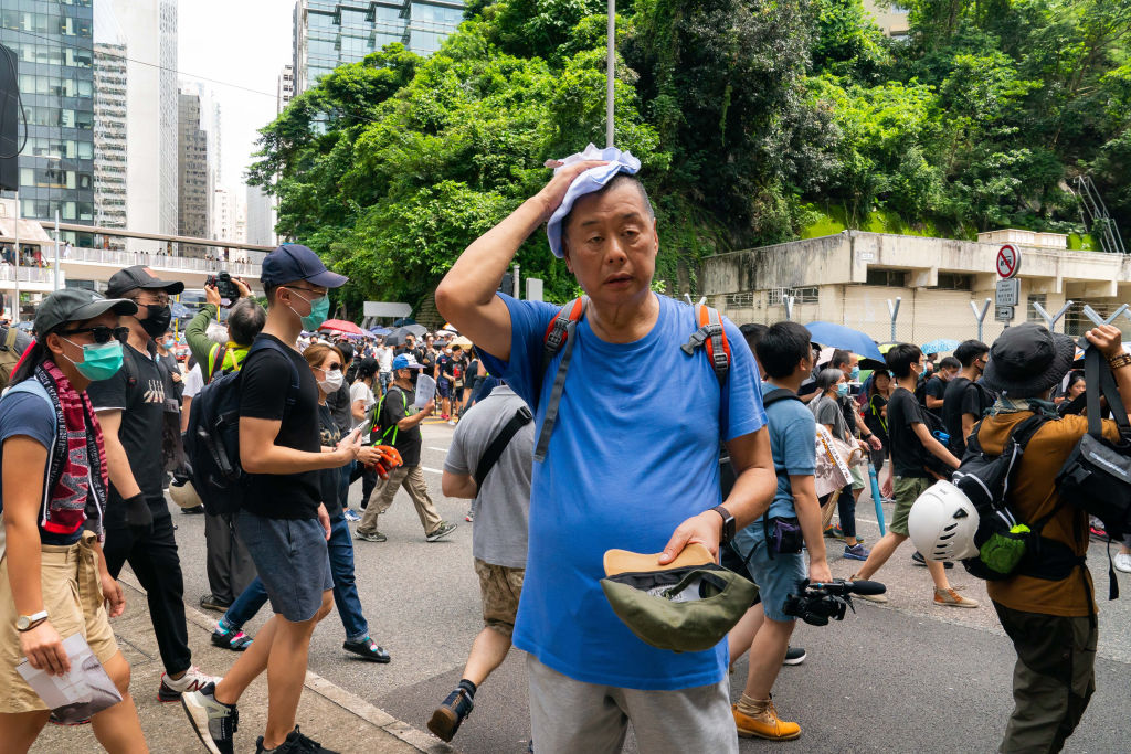 The media tycoon Jimmy Lai attends a pro-democracy protesters march on Aug. 31, 2019 in Hong Kong. Lai was arrested Feb. 28, 2020 in Hong Kong on charges that reportedly included  unlawful assembly  for his attendance at the Aug. 31 march.