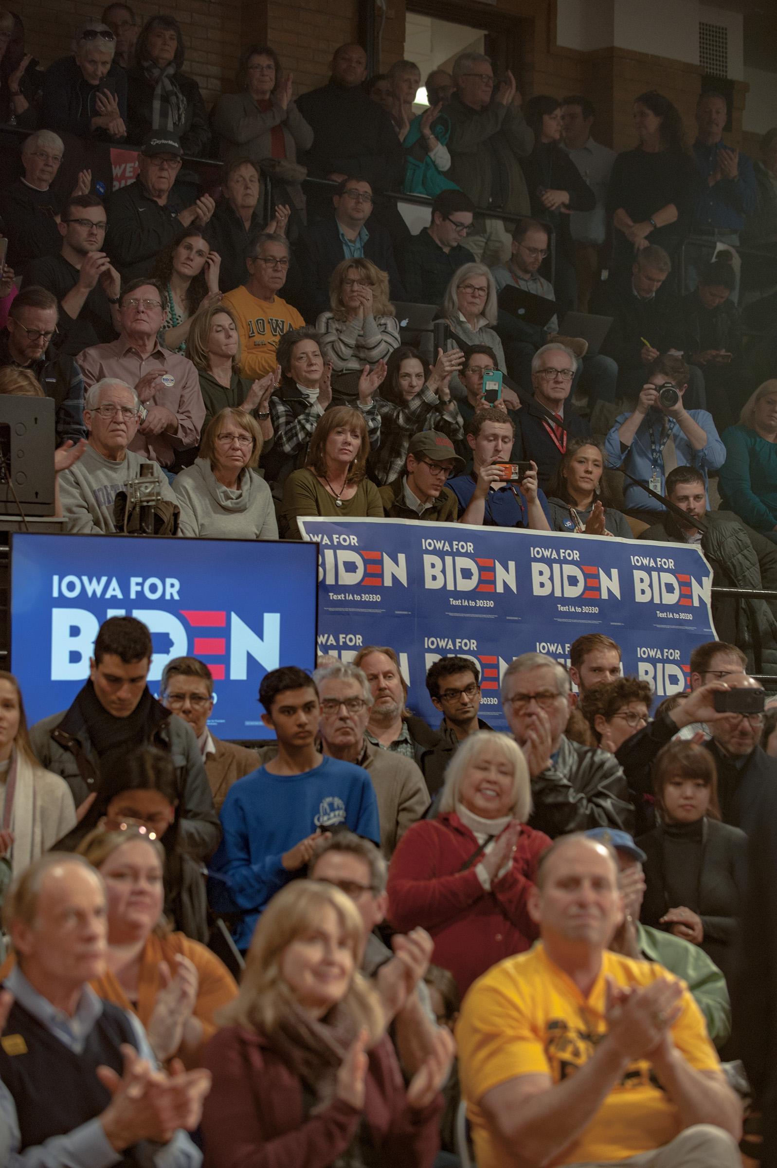 Supporters at the Joe Biden Town Hall in Cedar Rapids, Iowa.