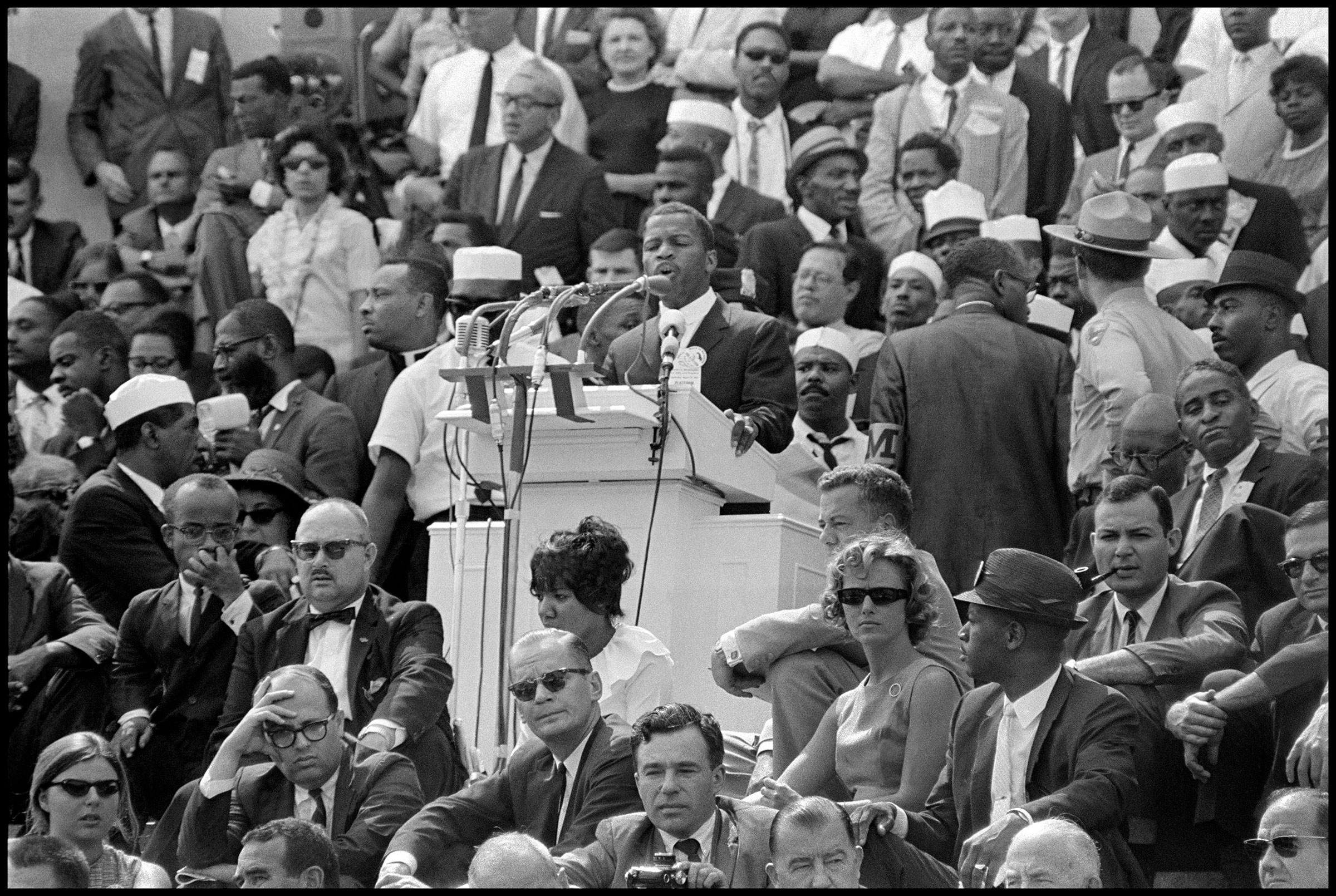 SNCC Chairman John Lewis speaks from the steps of the Lincoln Memorial in Washington, D.C., 1963