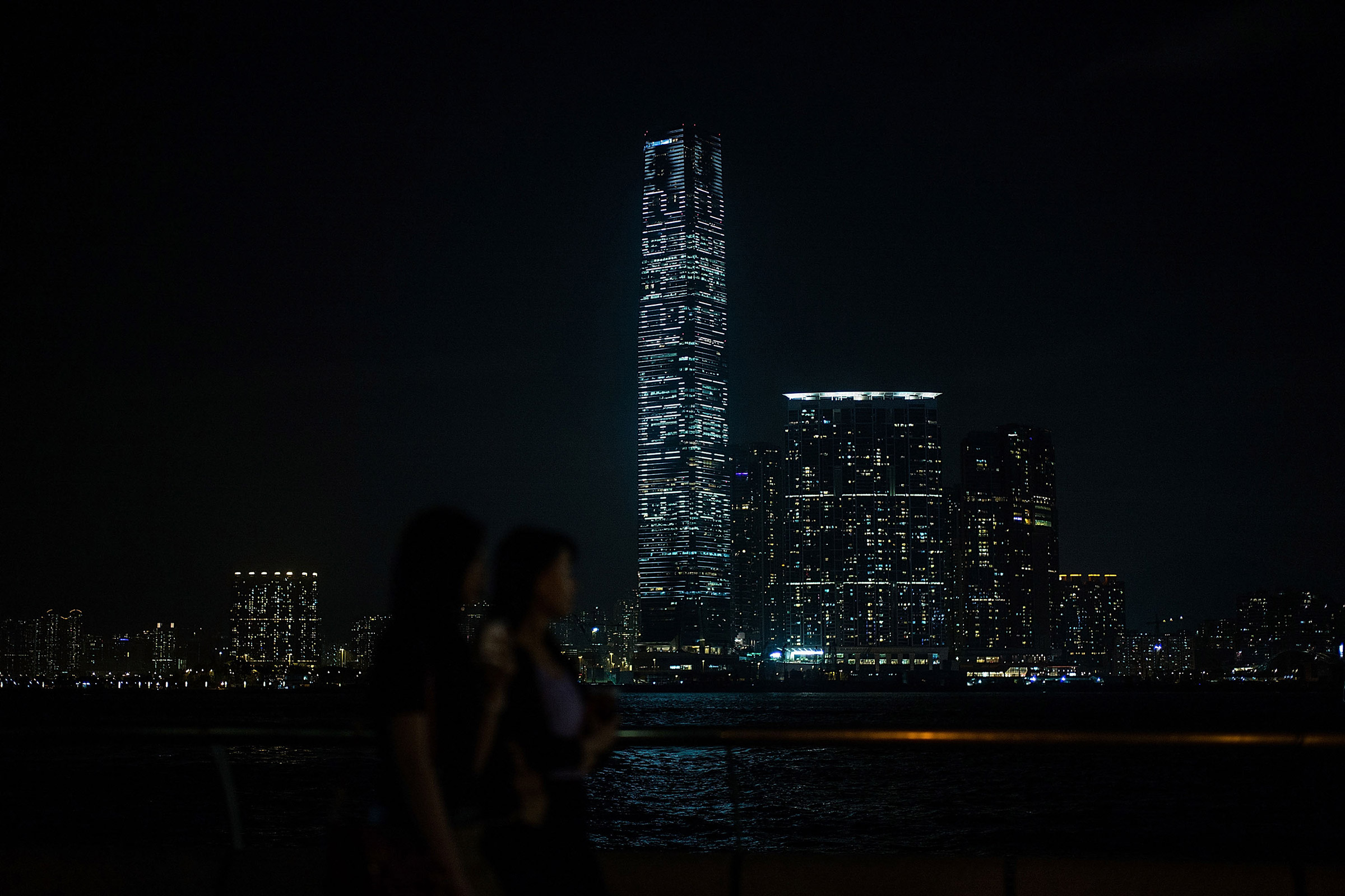 A light show on the facade of the International Commerce Center, Hong Kong's tallest building, features a countdown of the seconds until the ''one country, two systems'' framework expires on May 18, 2016 in Hong Kong.