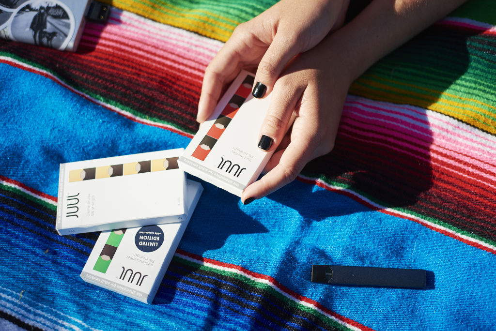 A Juul Labs Inc. e-cigarette and flavored pods in Brooklyn on July 8, 2018.