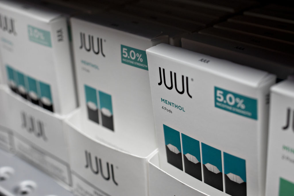Menthol pods for Juul Labs e-cigarettes are displayed for sale at a store in Princeton, Illinois, on Sept. 16, 2019.