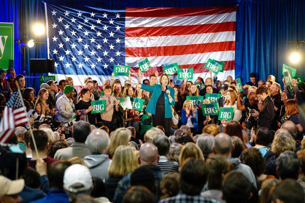 Senator Amy Klobuchar attracts her largest rally crowd size yet — 700-plus people — in Des Moines, Iowa on February 1, 2020.