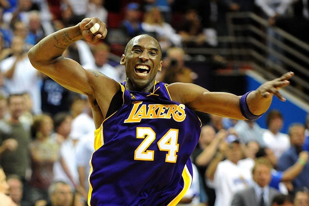 Kobe Bryant celebrates after defeating the Orlando Magic 99-86 in Game Five of the 2009 NBA Finals on June 14, 2009 at Amway Arena in Orlando, Fla., on June 14, 2009.