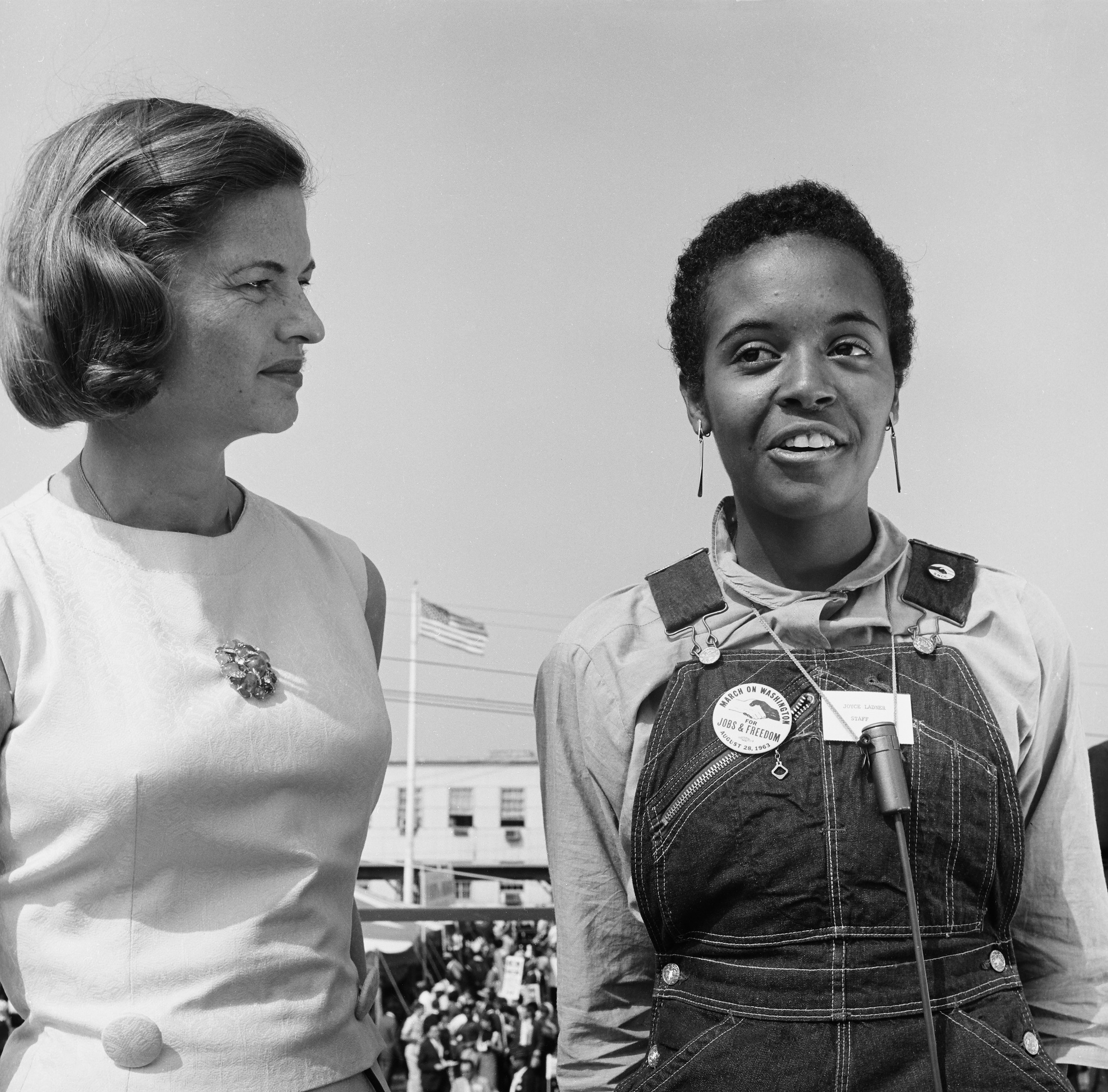 NBC News -- MARCH ON WASHINGTON FOR JOBS AND FREEDOM 1968 -- Pictured: (l-r) NBC News' Nancy Dickerson and Mississippi SNCC March Coordinator Joyce Ladner during the March on Washington for Jobs and Freedom in Washington, D.C., on Aug. 28, 1963.