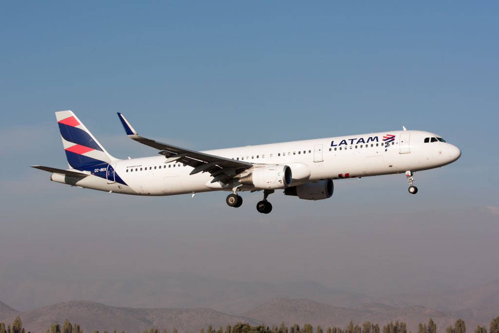 A LATAM Airlines Airbus 321 seen landing at Santiago airport on March 21, 2019.