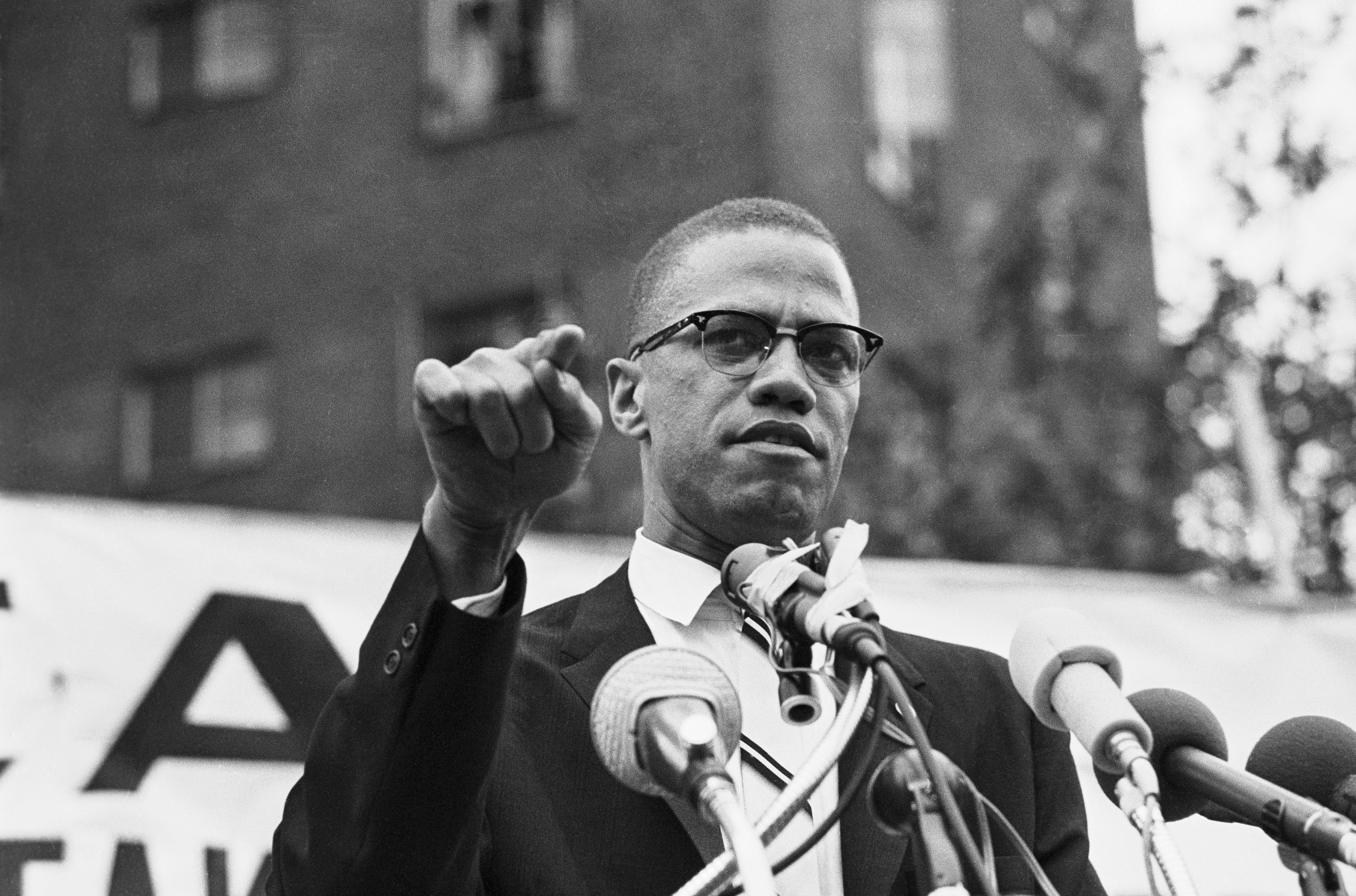 Malcolm X speaks to a crowd on June 29, 1963.