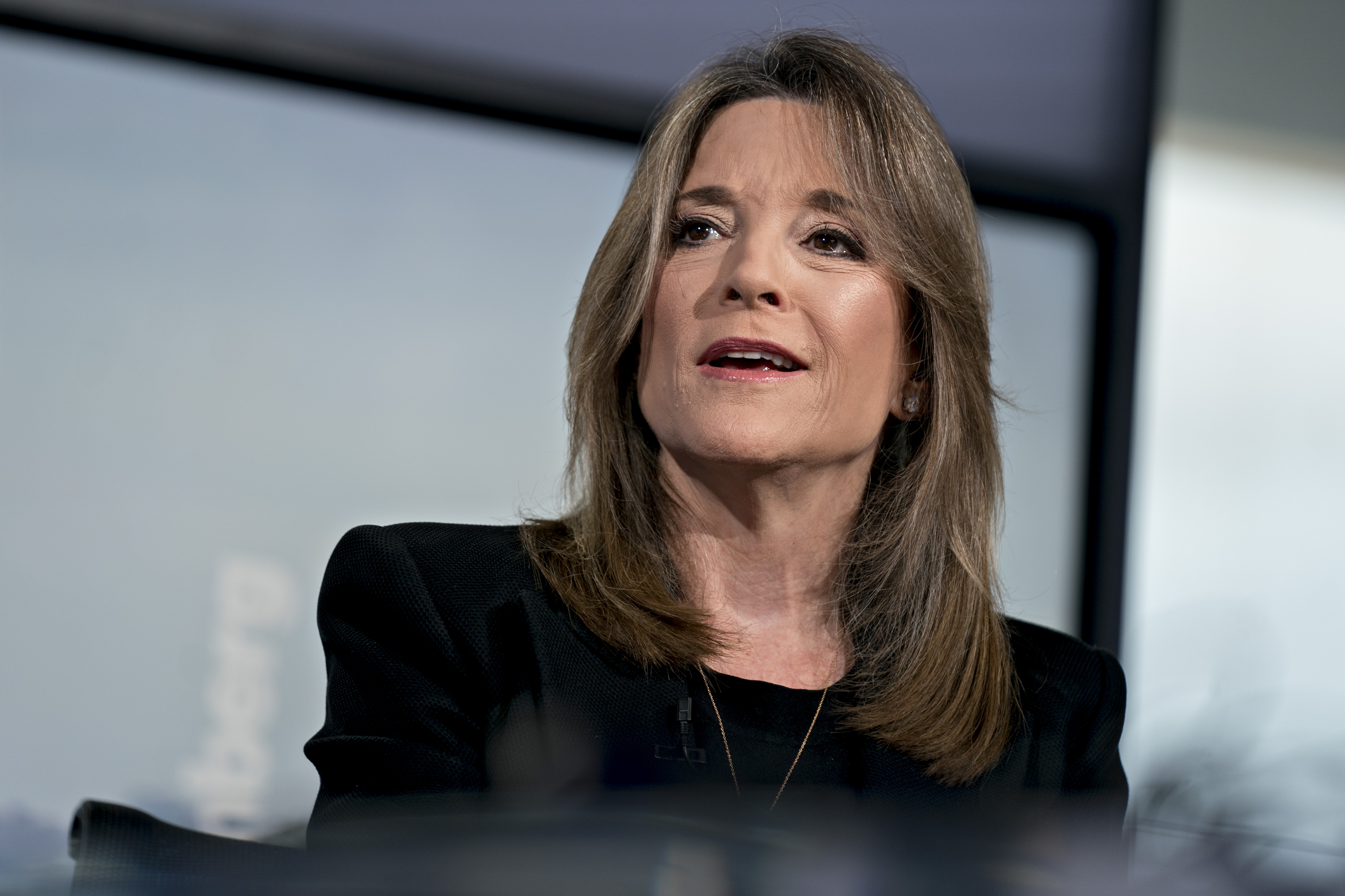Marianne Williamson speaks during a Bloomberg Television interview in Washington, D.C., U.S., on Wednesday, Aug. 21, 2019.