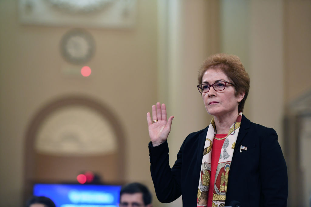 Former Ambassador to Ukraine, Marie Yovanovitch is sworn in as she appears before the House Intelligence Committee during an impeachment hearing at the Longworth House Office Building on Nov. 15, 2019, in Washington, DC.
