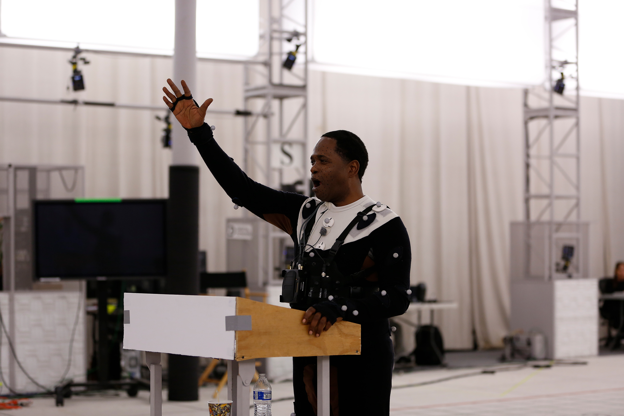 "Stephon Ferguson matches his motions to King's real delivery while reciting the ""I Have a Dream"" speech at the Digital Domain studios in Los Angeles."