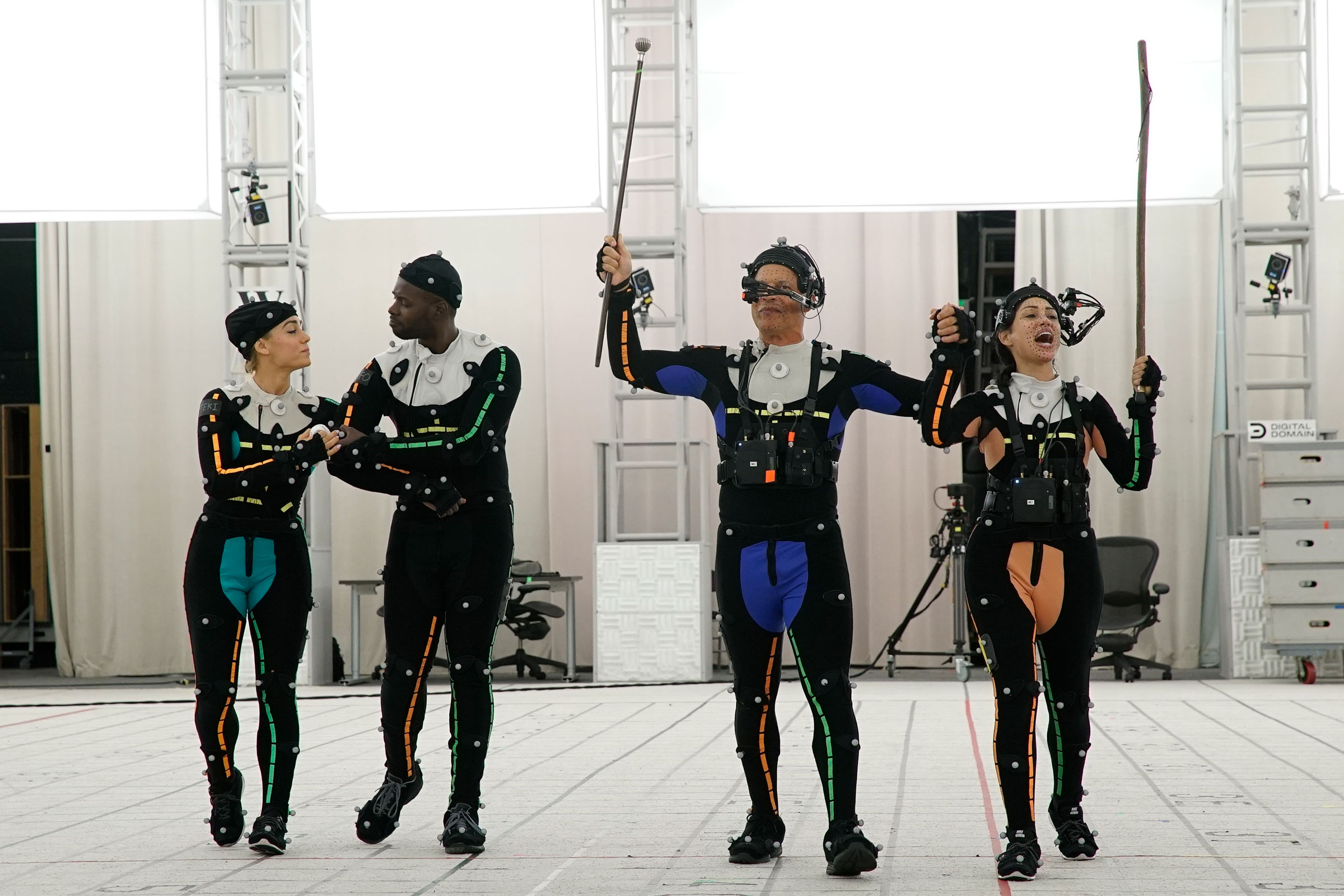Motion capture actors perform for the virtual-reality experience The March on a soundstage at the Digital Domain studios in Los Angeles.