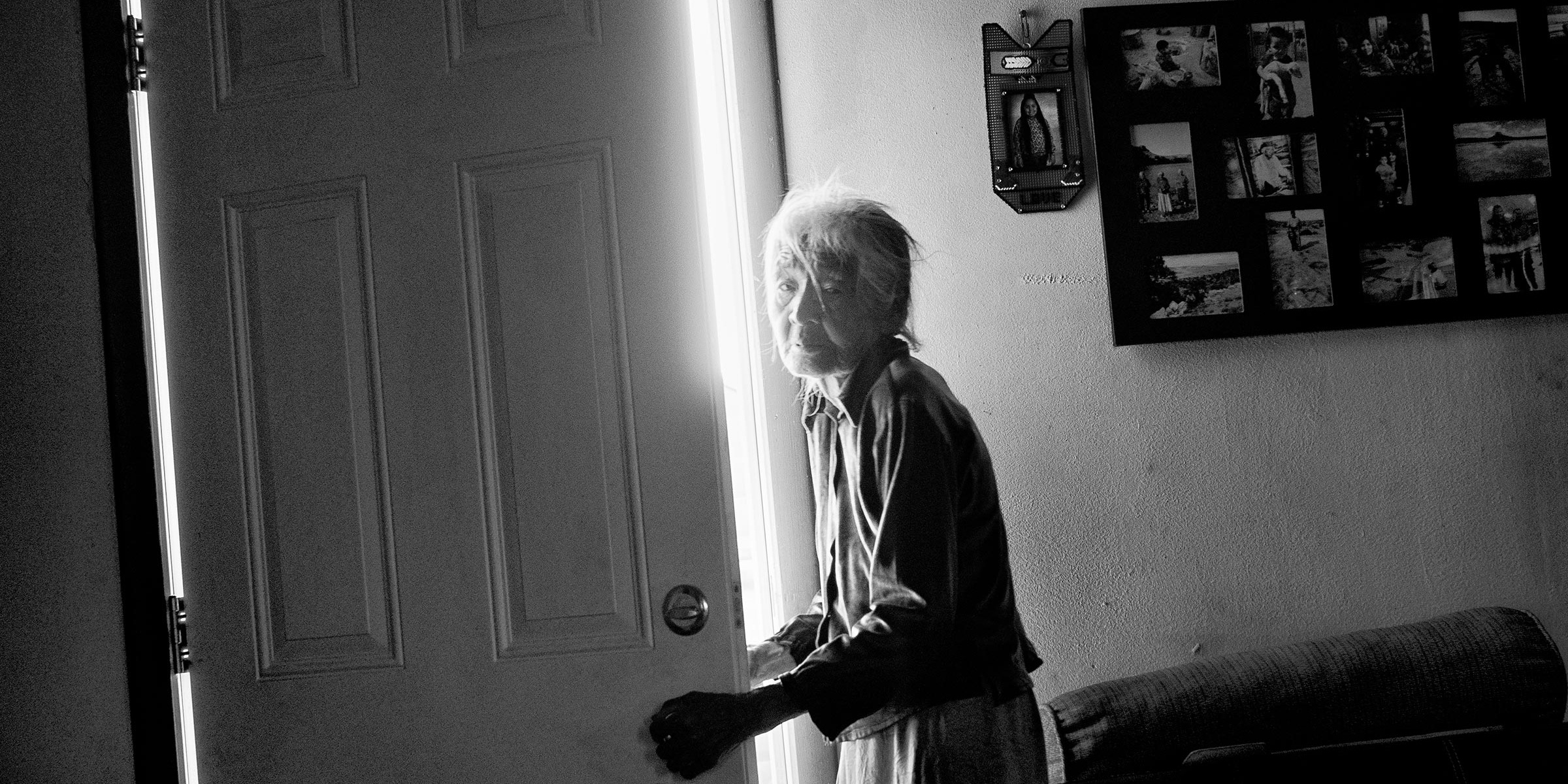 Gap, Ariz. | Nellie Yellowhorse, 90, at her family's ranch home in the Navajo Nation; she lives with her two elderly sisters in the house, which has no running water