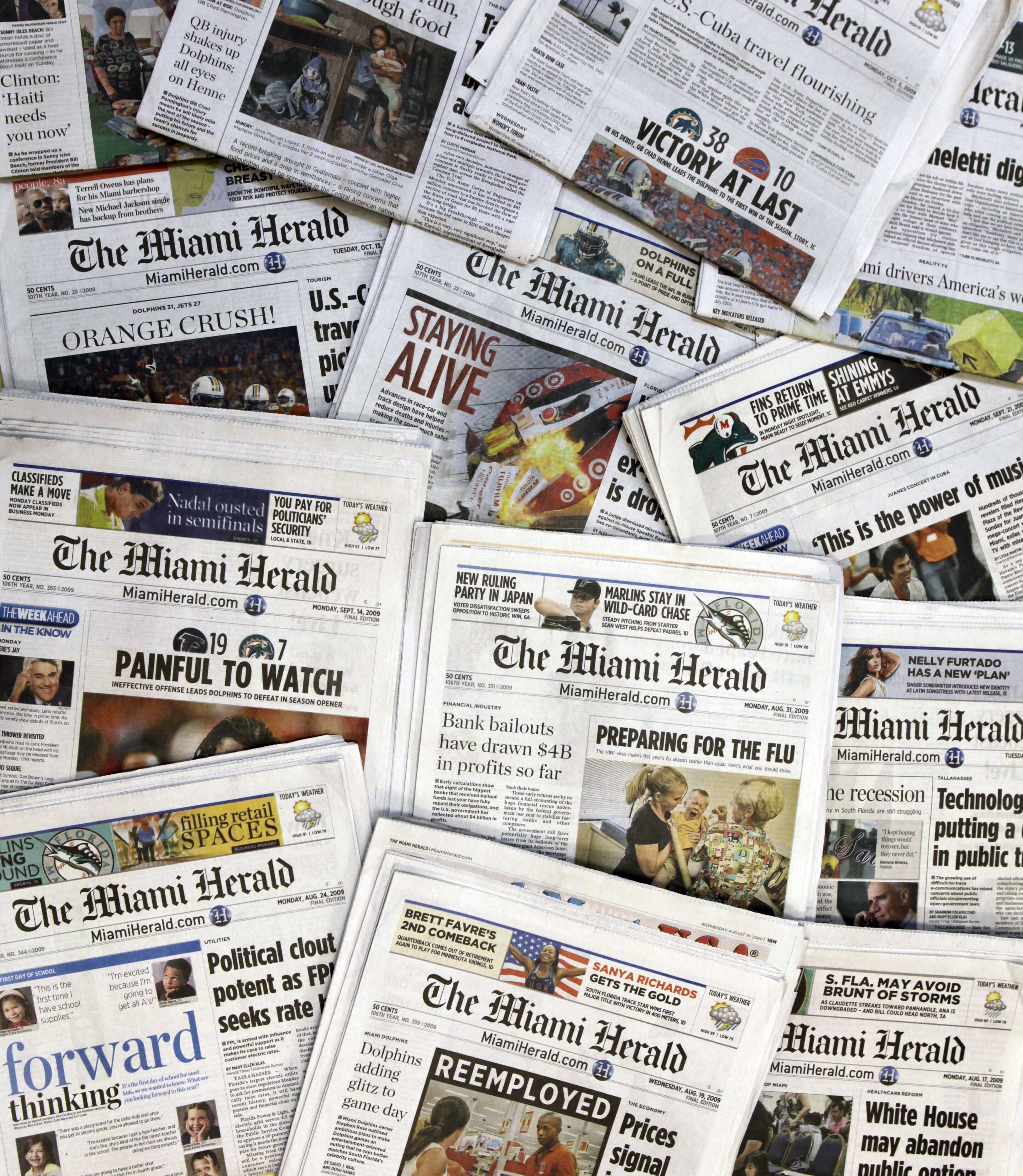 This Oct. 14, 2009 file photo, shows copies of the McClatchy Co. owned Miami Herald newspaper in Miami.
