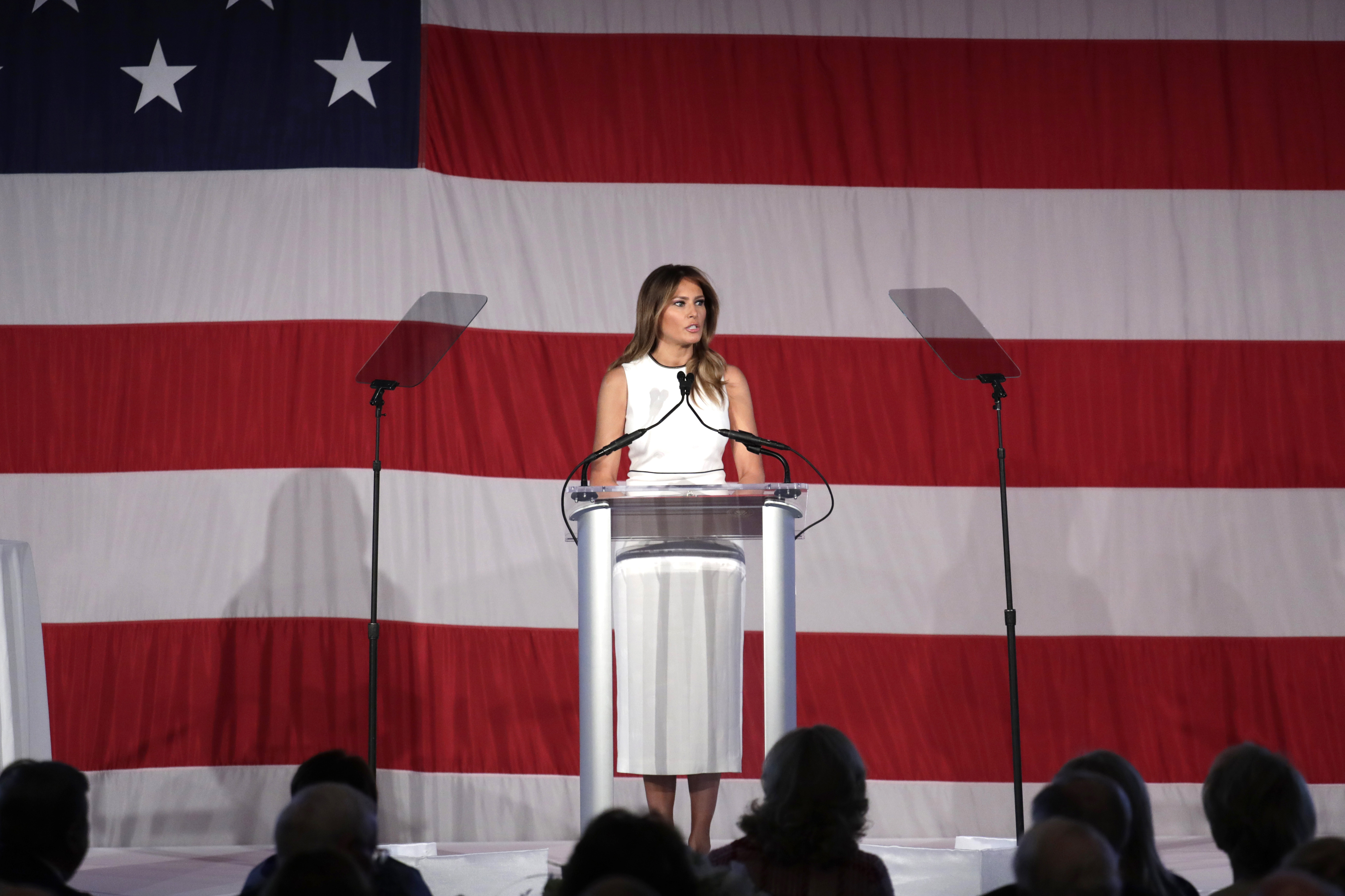 First lady Melania Trump speaks at the Women of Distinction Luncheon hosted by Palm Beach Atlantic University, on Feb. 19, 2020, in Palm Beach, Fla.