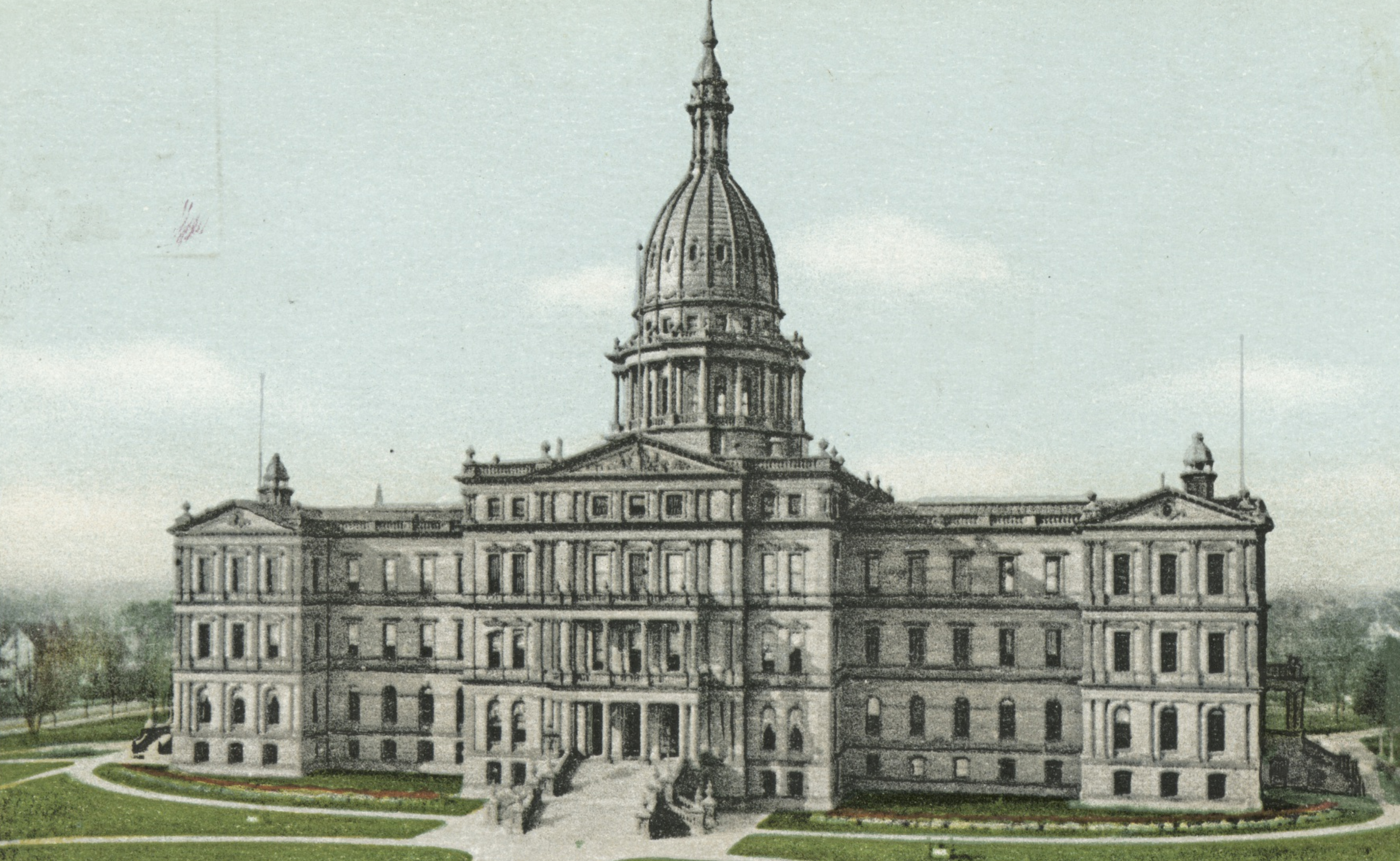 Postcard of the exterior of the Michigan State Capitol building, Lansing, Michigan, 1914. From the New York Public Library. In the 19th century, Michigan was the harbinger of a wave of state laws criminalizing seduction.