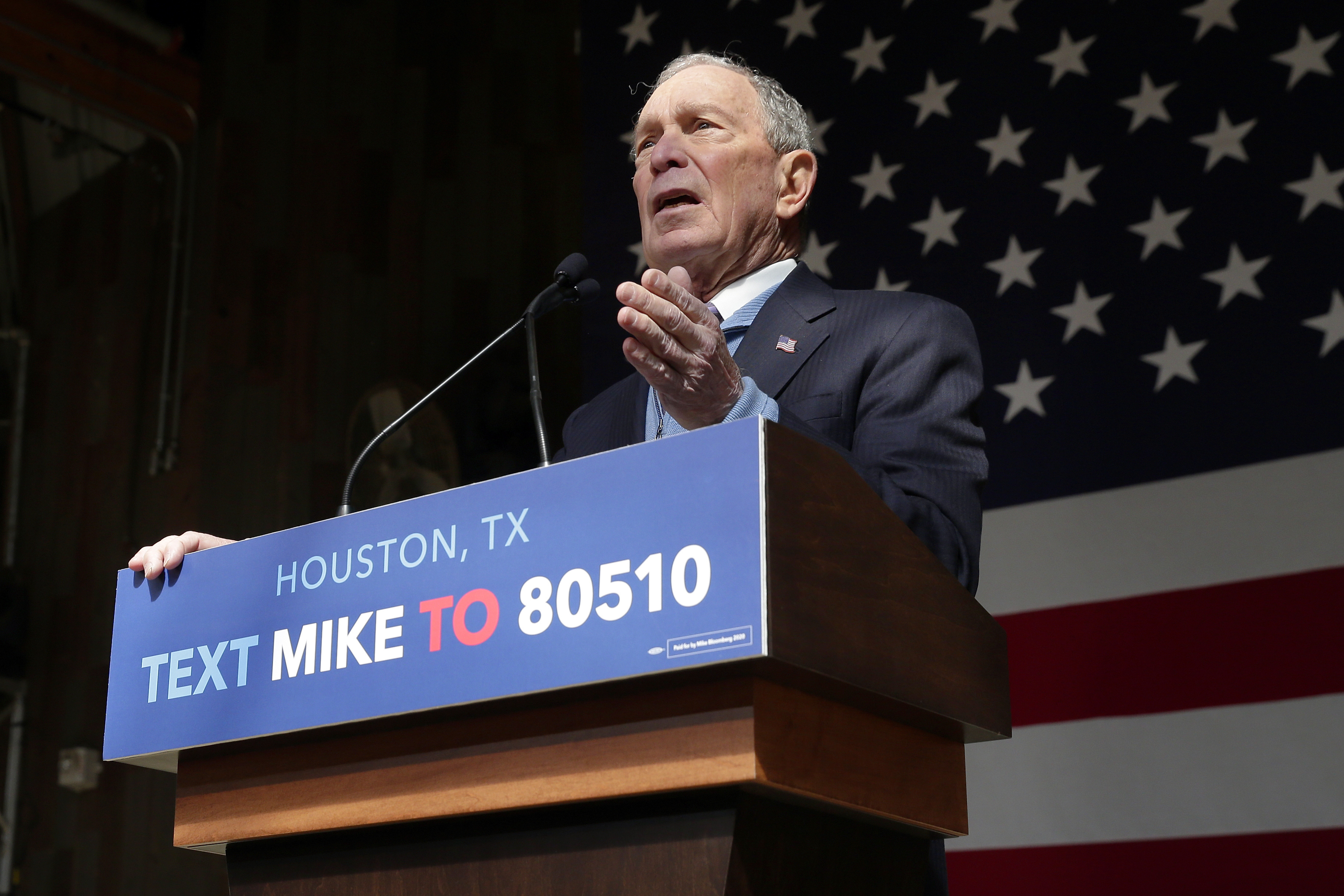 Democratic presidential candidate and former New York City Mayor Mike Bloomberg speaks during a campaign event in Houston on Feb. 27, 2020.