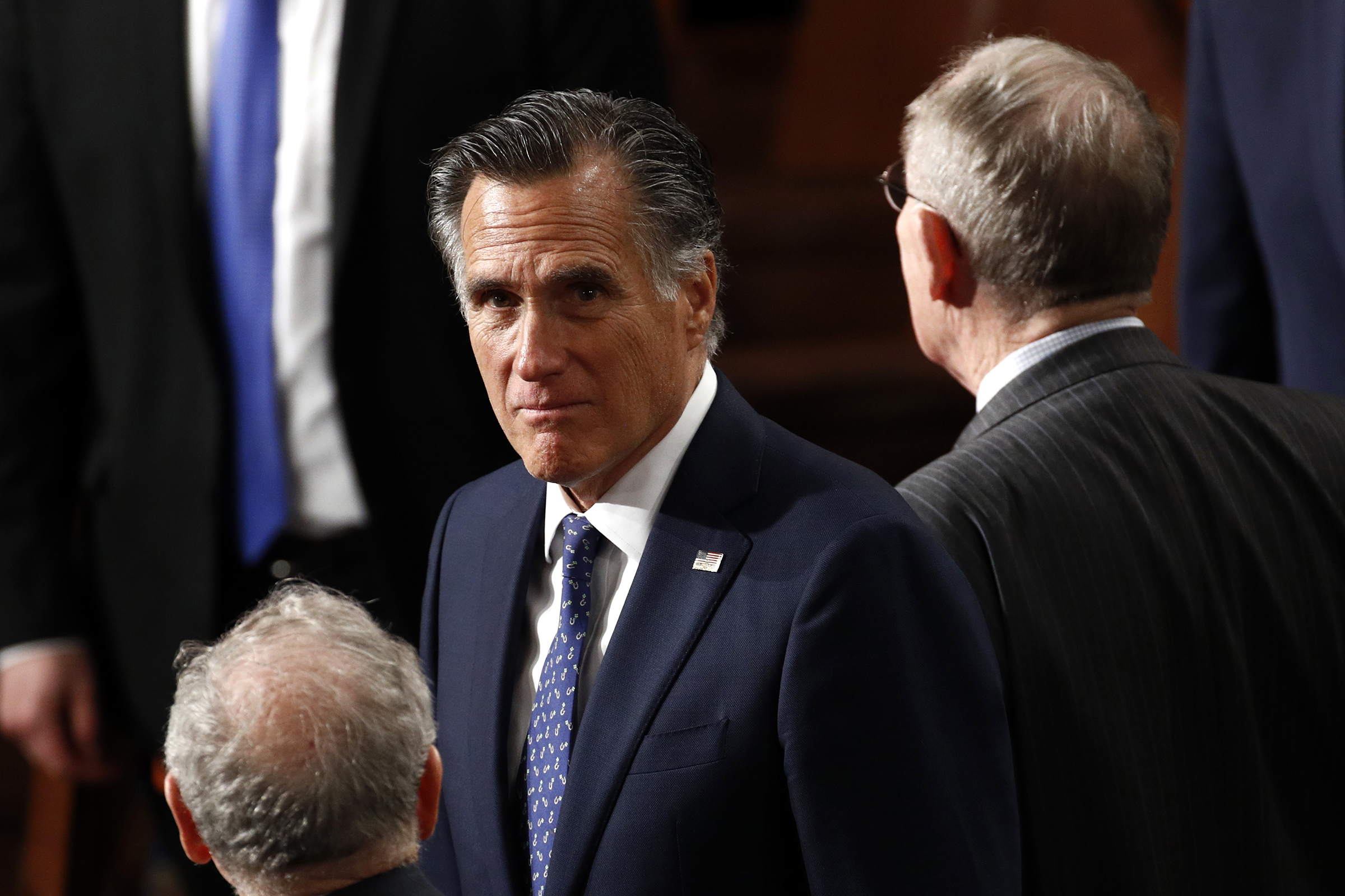 Sen. Mitt Romney, R-Utah, arrives before President Donald Trump delivers his State of the Union address to a joint session of Congress on Capitol Hill in Washington on Feb. 4, 2020.