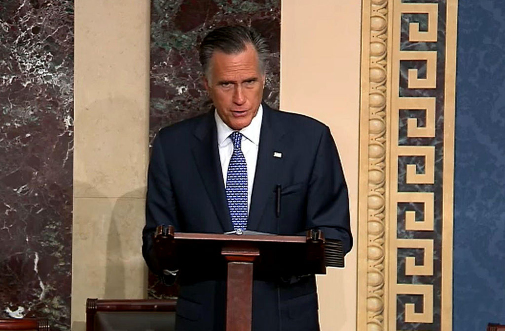 In this screengrab taken from a Senate Television webcast, Sen. Mitt Romney talks about how his faith guided his deliberations on the articles of impeachment during impeachment proceedings against U.S. President Donald Trump in the Senate at the U.S. Capitol on February 5, 2020 in Washington, DC.