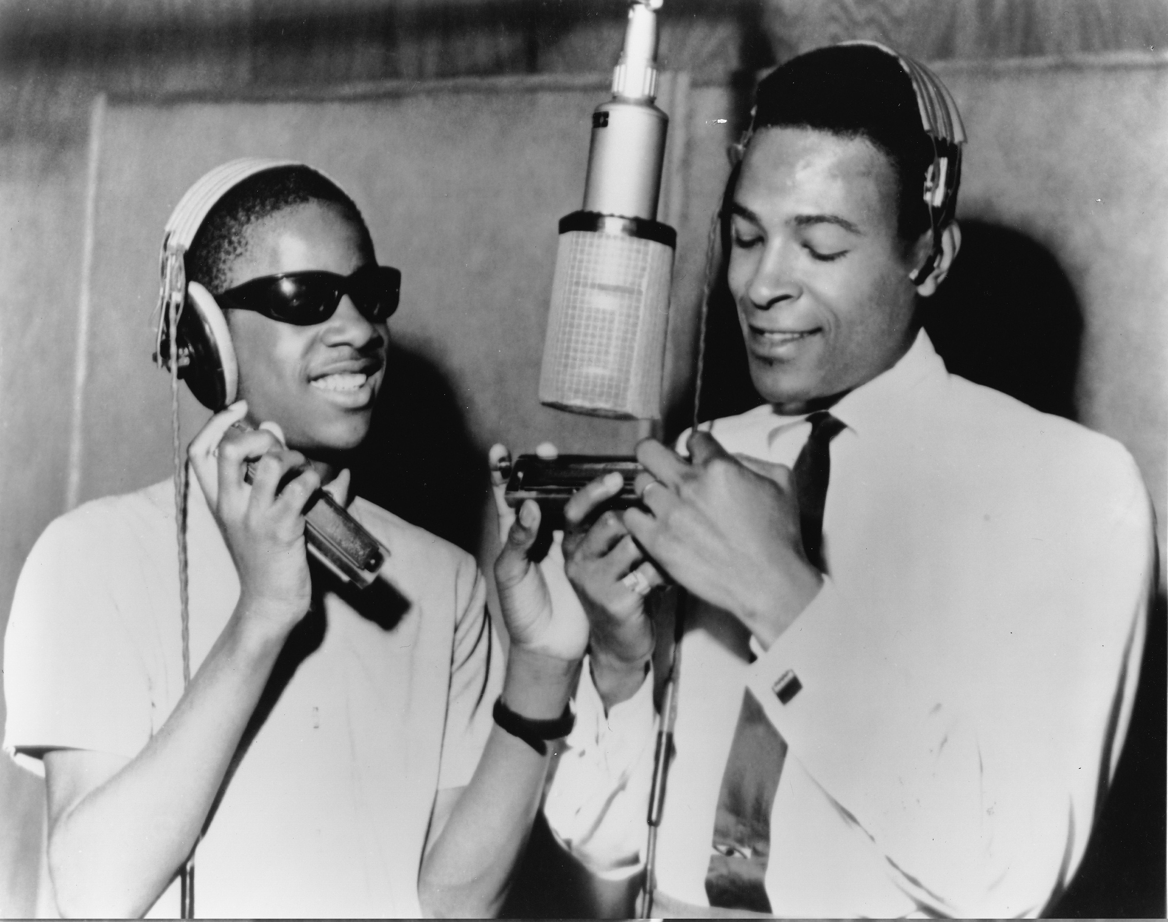 Stevie Wonder, left, with Marvin Gaye in a Motown studio in Detroit in 1965. Founder Berry Gordy came to see the label as a force for integration