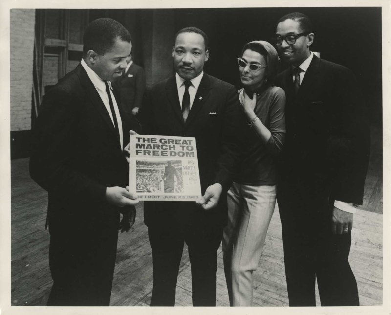 From left, Berry Gordy and Martin Luther King Jr. hold King's first Motown album next to Lena Horne and Billy Taylor in Atlanta in 1963.