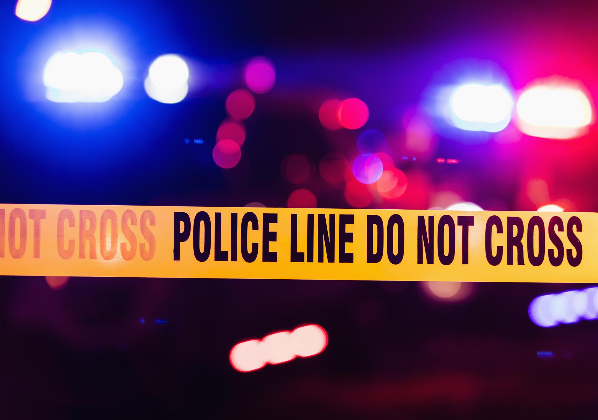 Accident or crime scene cordon tape.