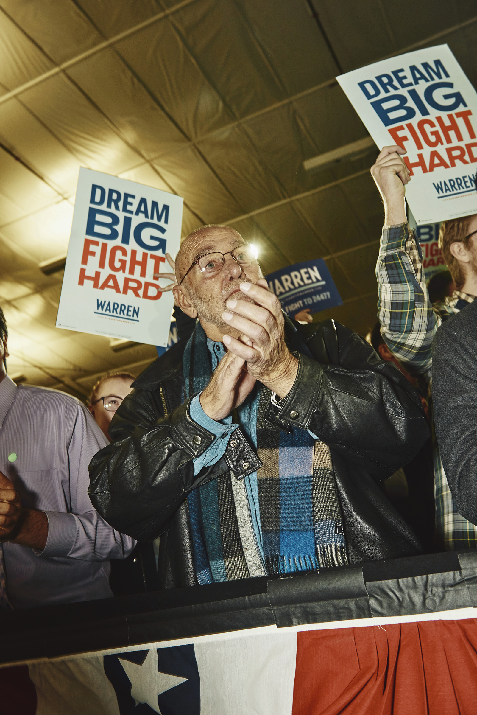 Supporters applaud Sen. Elizabeth Warren at her New Hampshire Election Night Event in Manchester, N.H. on Feb. 12, 2020.