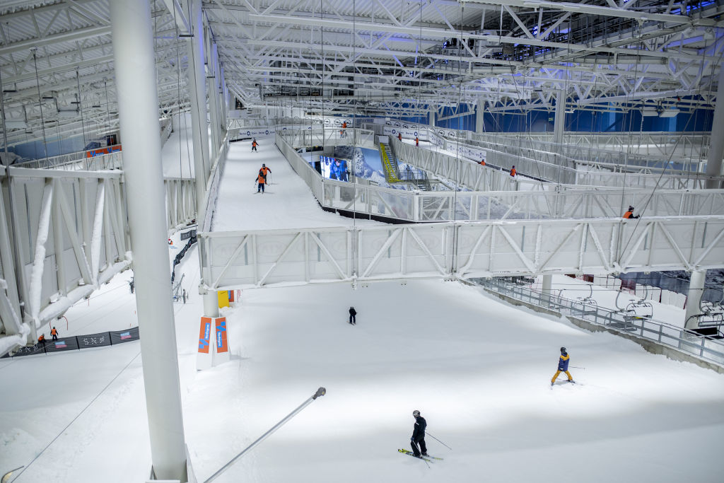 Participants ski on the courses at the Sno indoor skiing resort in Lorenskog, Norway, on Monday, Feb. 10, 2020. The resortopened its doors just onemonth ago, during the country's warmest January on record.