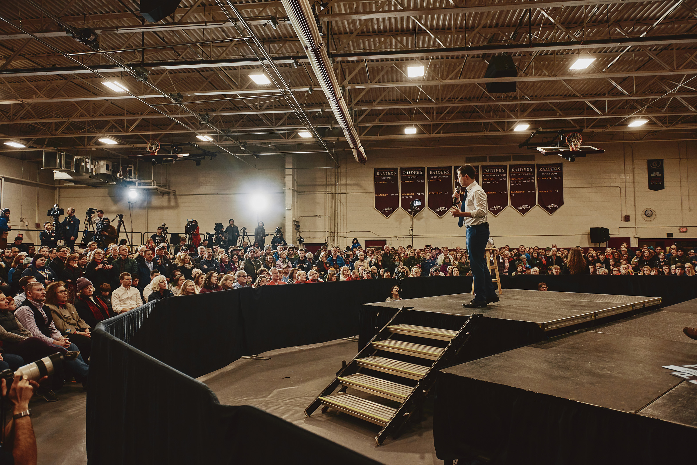 Mayor Pete Buttigieg speaking at his GOTV Rally at the Lebanon High School in Lebanon, N.H. on Feb. 8, 2020.