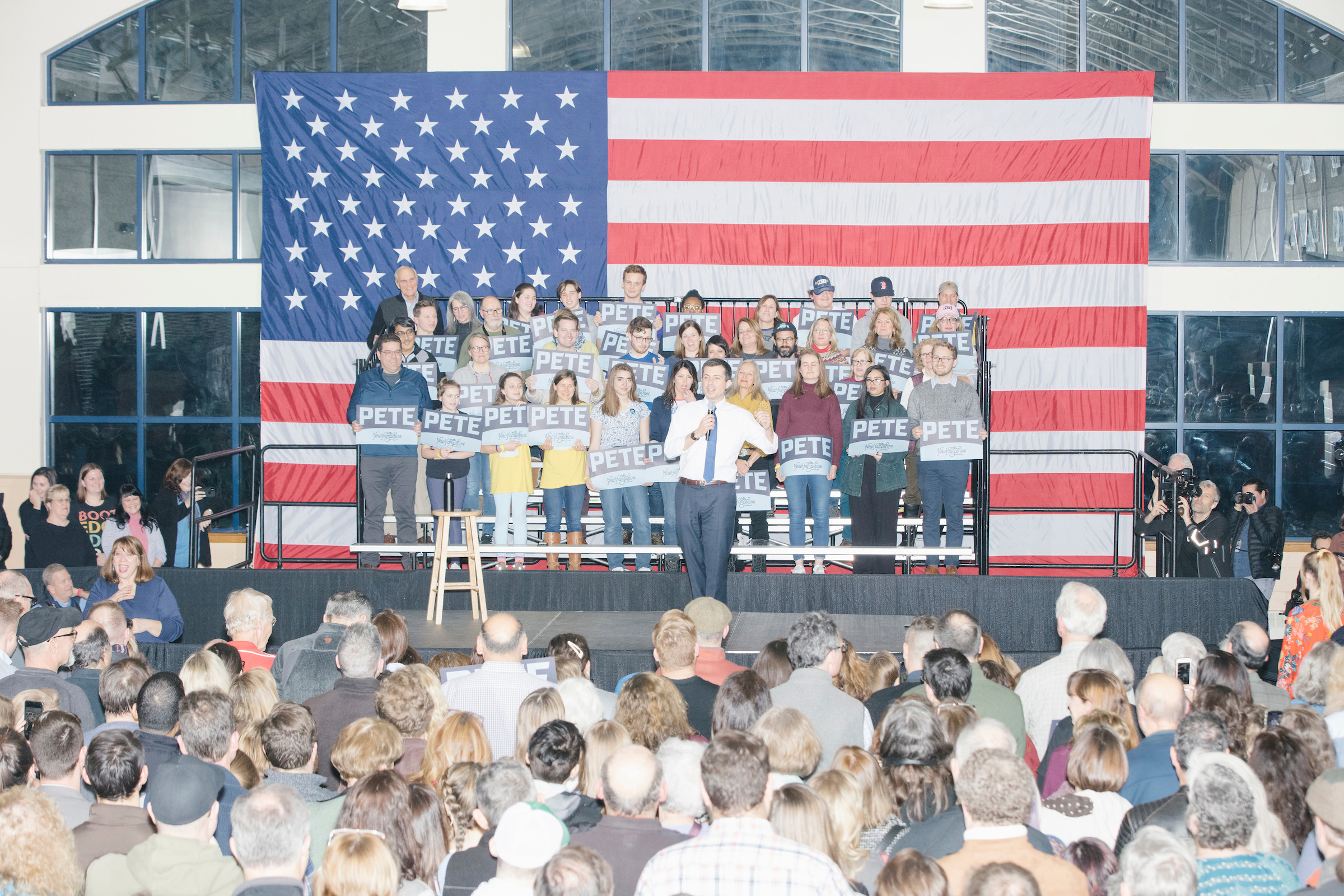 Pete Buttigieg speaks at a campaign rally at Exeter High School in Exeter, New Hampshire, on Feb. 10, 2020.