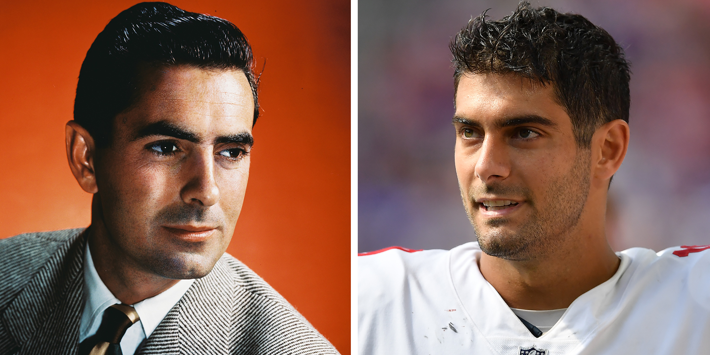 US Actor Tyrone Power and San Francisco 49ers Quarterback Jimmy Garoppolo.