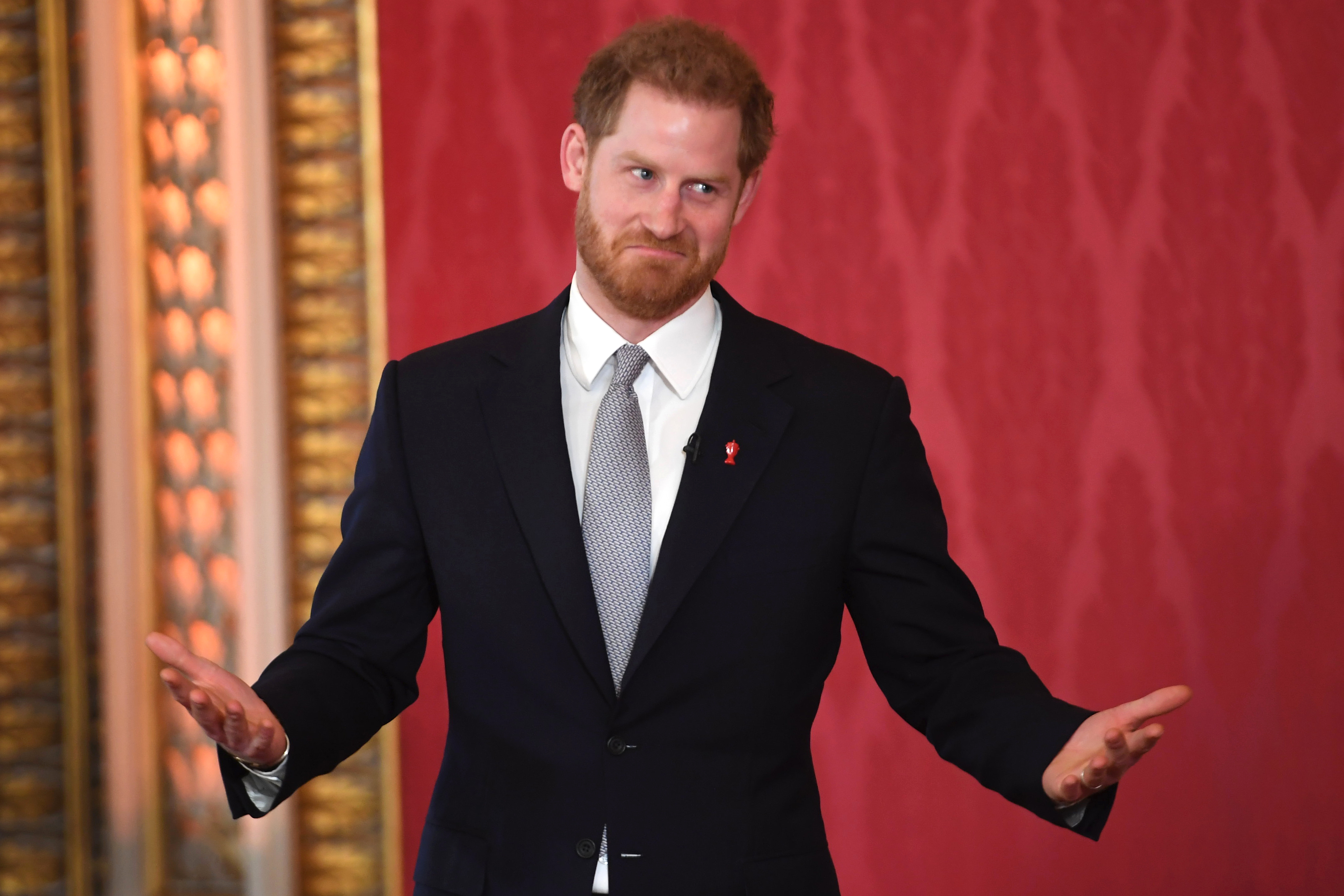 Prince Harry hosts the Rugby League World Cup 2021 draws at Buckingham Palace on Jan. 16, 2020 in London, England.