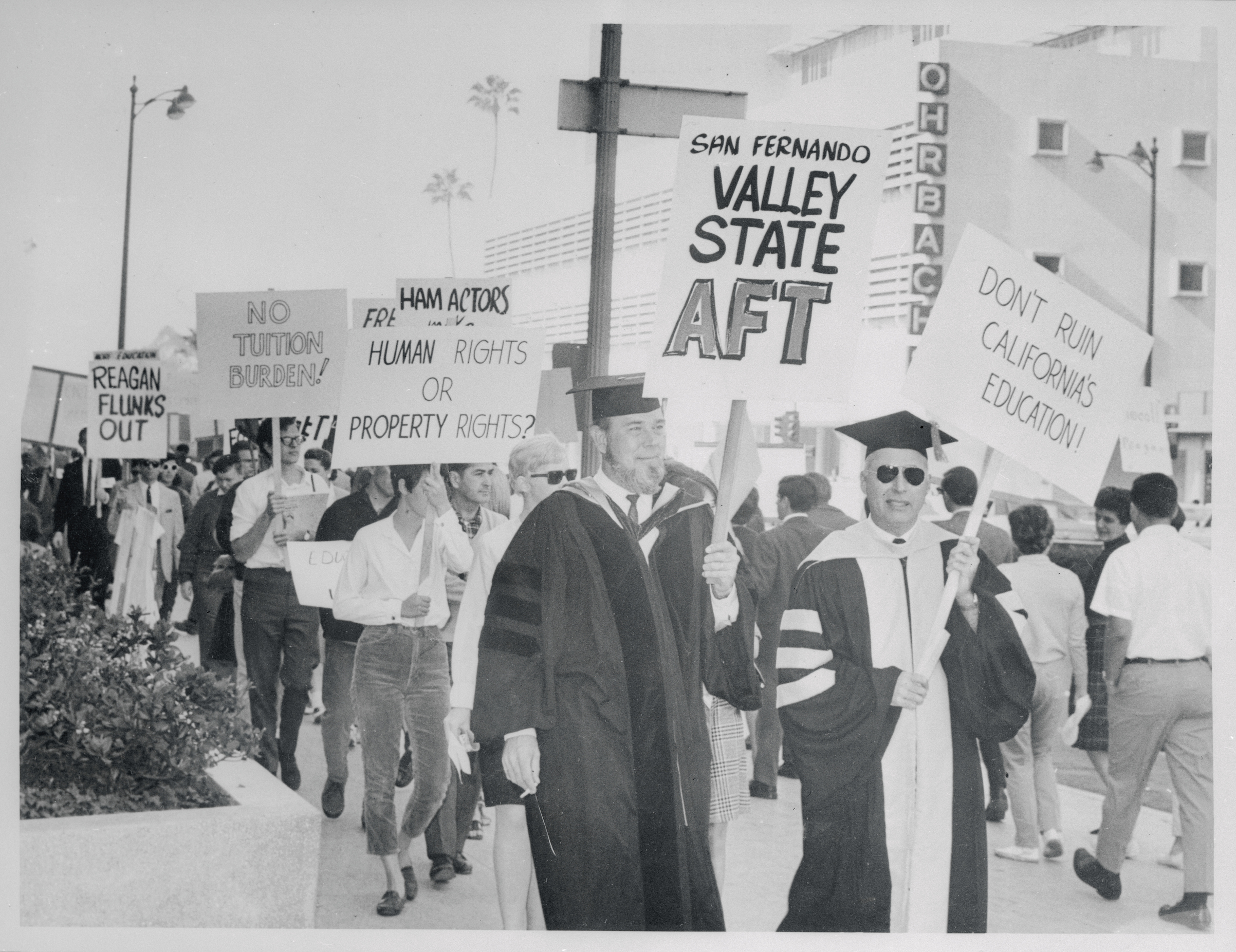 College professors join with students in picketing the office of State Colleges Chancellor Glen Dumke in Los Angeles on Jan. 15, 1967. Some 300 demonstrated against  proposed budget cuts and increased tuition fees.