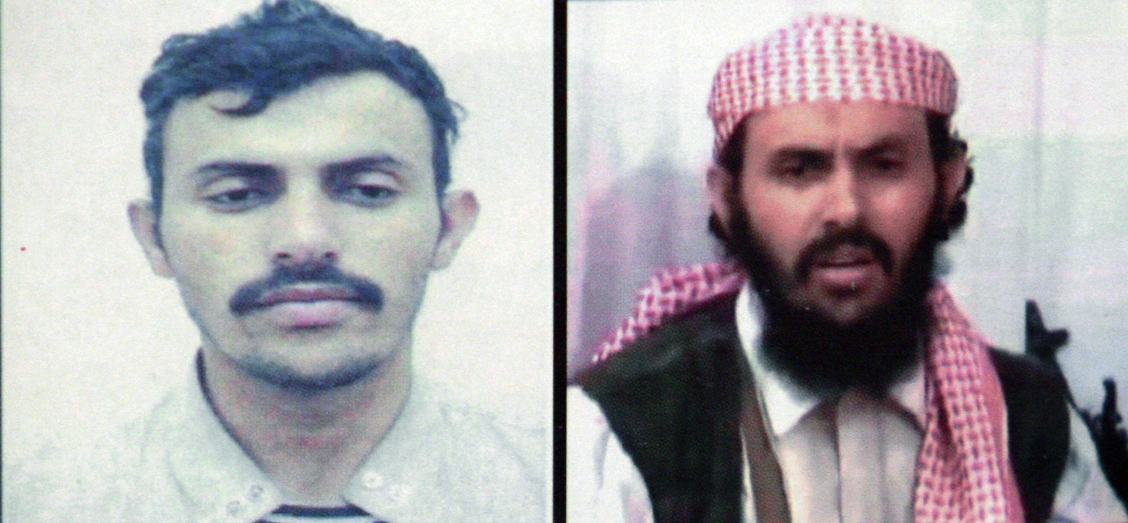 In this file photo reproduction of a combo of two pictures of a suspected military chief of al-Qaeda network in Yemen, identified as Qassem al-Rimi (or Qassim al-Rimi), shows the activist on a Yemeni interior ministry document in two different undated images. U.S. President Donald Trump confirmed on February 6, 2020 that US forces had killed the leader of jihadist group Al-Qaeda in the Arabian Peninsula in Yemen.