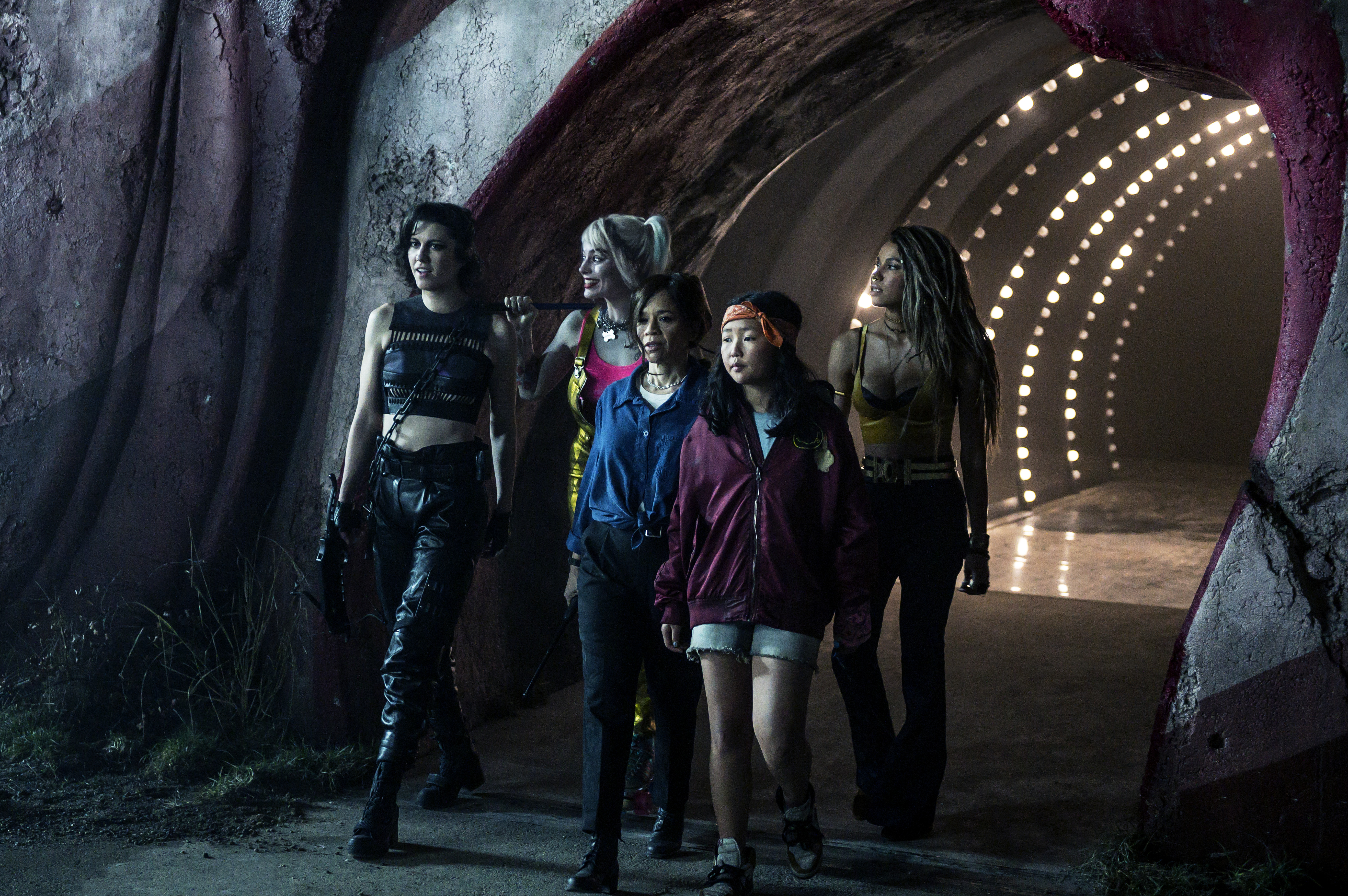 (L-r) Mary Elizabeth Winstead as Huntress, Margot Robbie as Harley Quinn, Rosie Perez as Renee Montoya,  Ella Jay Basco as Cassandra Cain and Jurnee Smollett-Bell as Black Canary in Warner Bros. Pictures' 'Birds of Prey (And The Fantabulous Emancipation of Harley Quinn.'