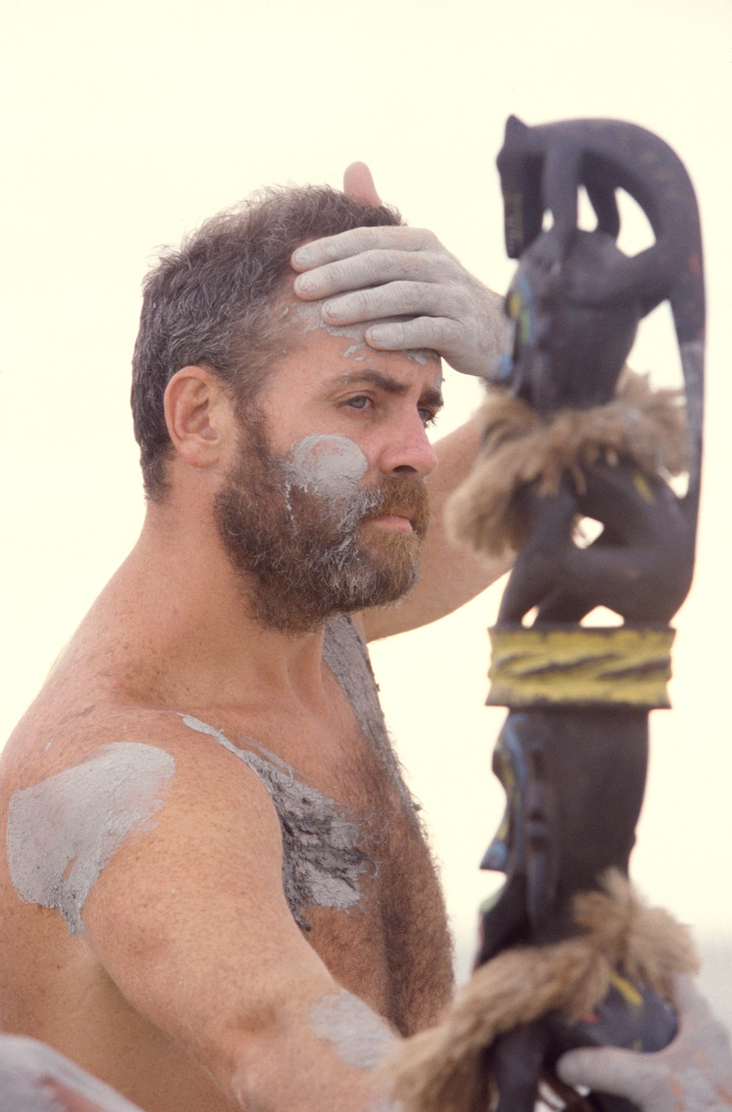 Richard Hatch competes in the final immunity challenge during Survivor: Borneo