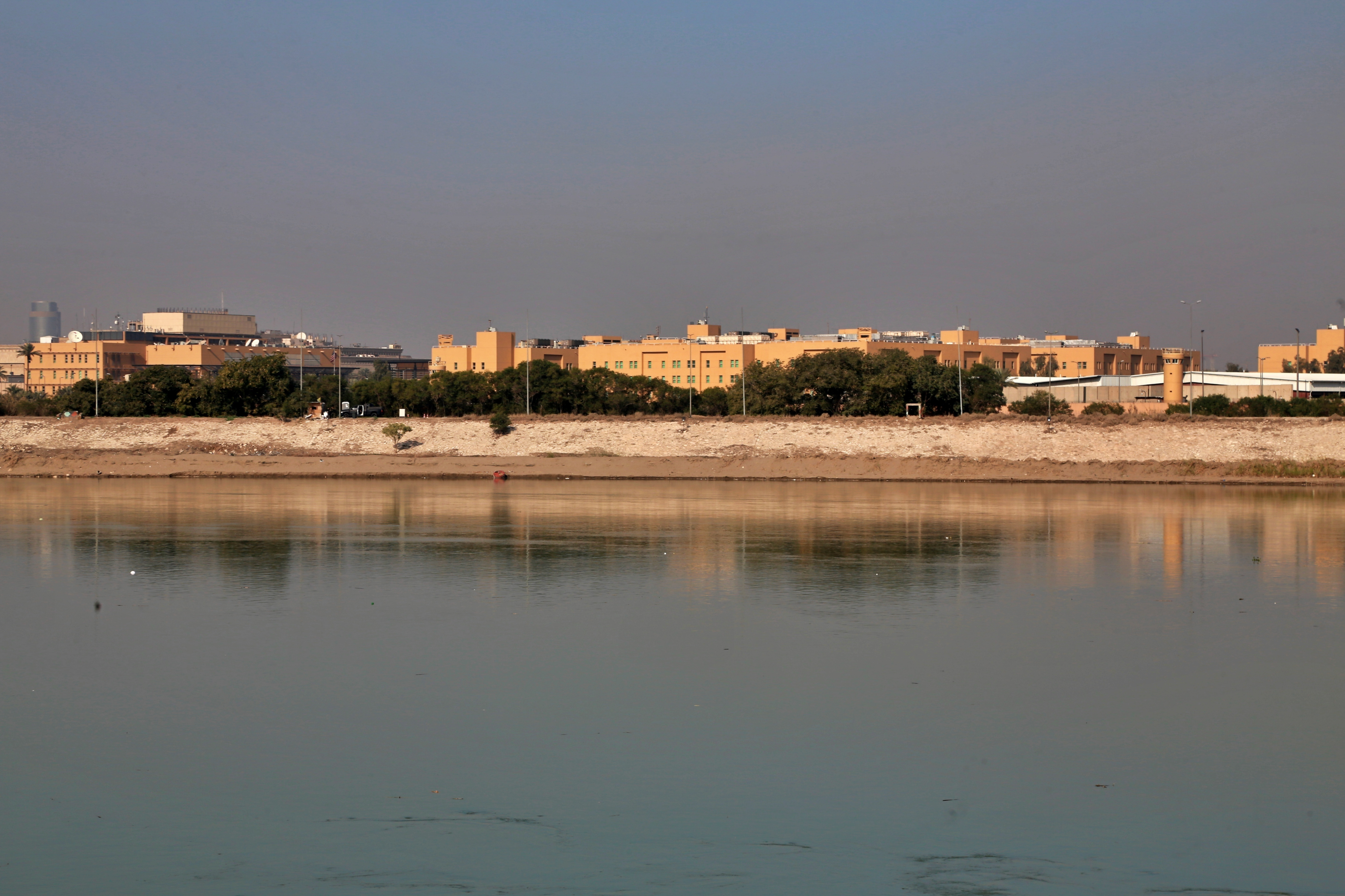 U.S. Embassy is seen from across the Tigris River in Baghdad, Iraq, on Jan. 3, 2020.