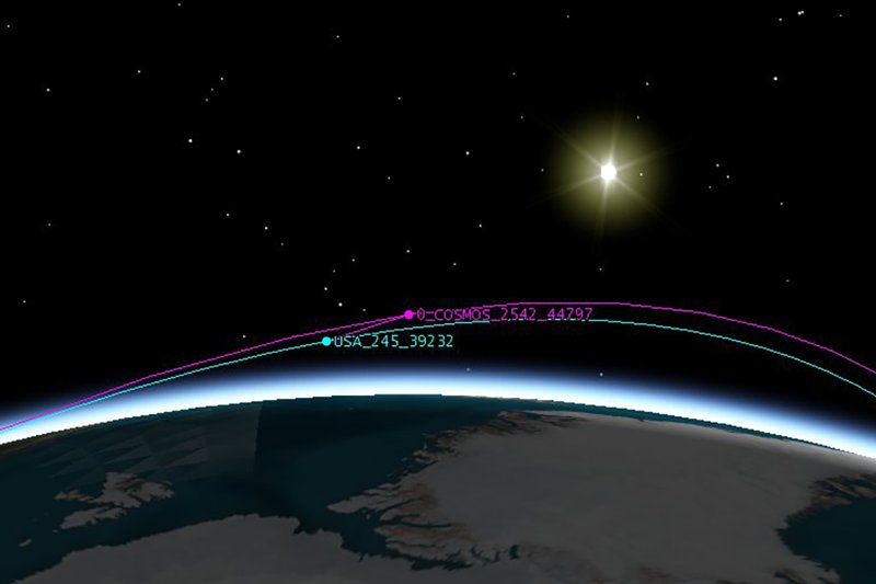 Russian satellite Cosmos 2542 near an American KH-11 satellite identified as USA245.