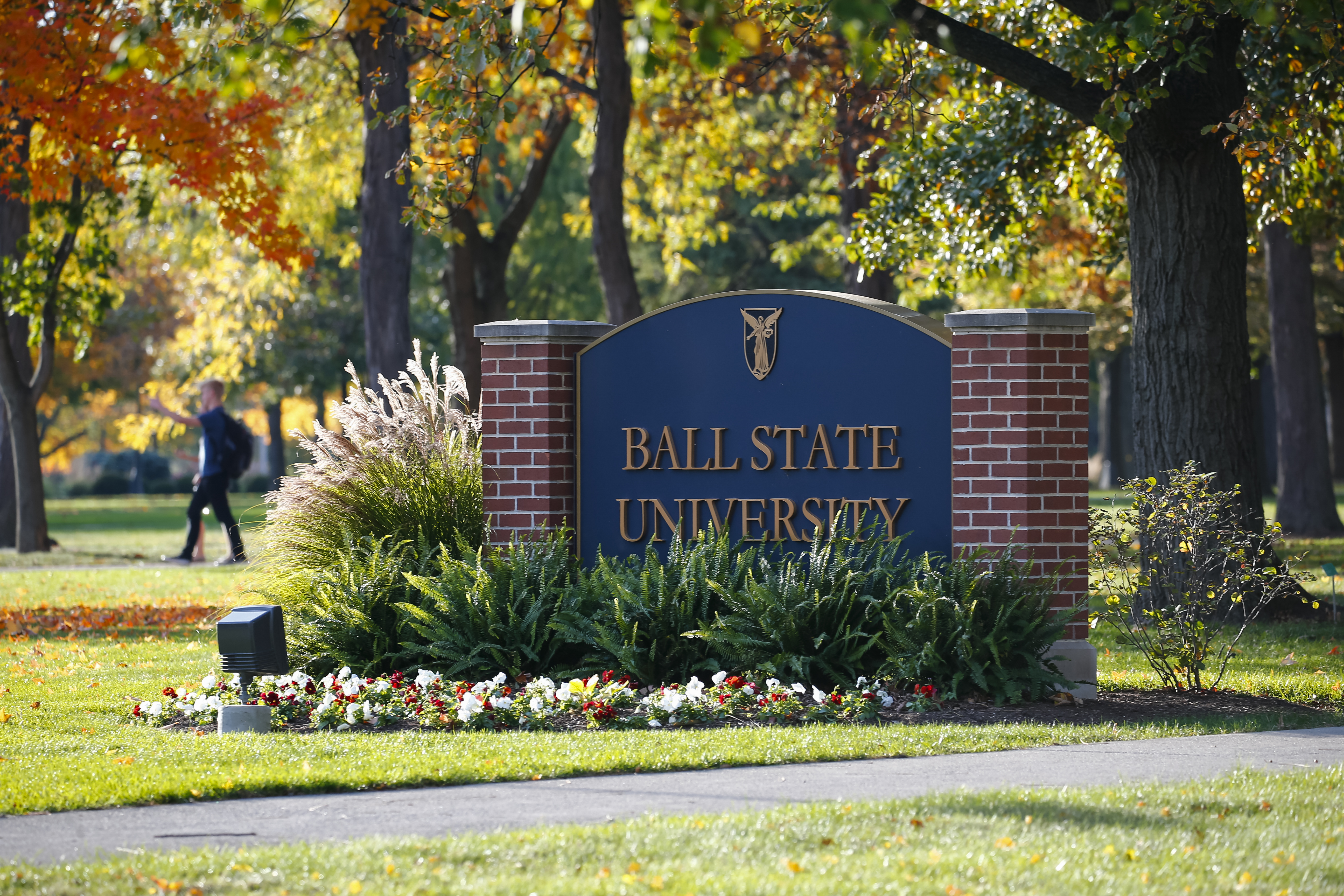 General view of a Ball State Univerrsity sign seen  on Nov. 1, 2016 in Muncie, Indiana.
