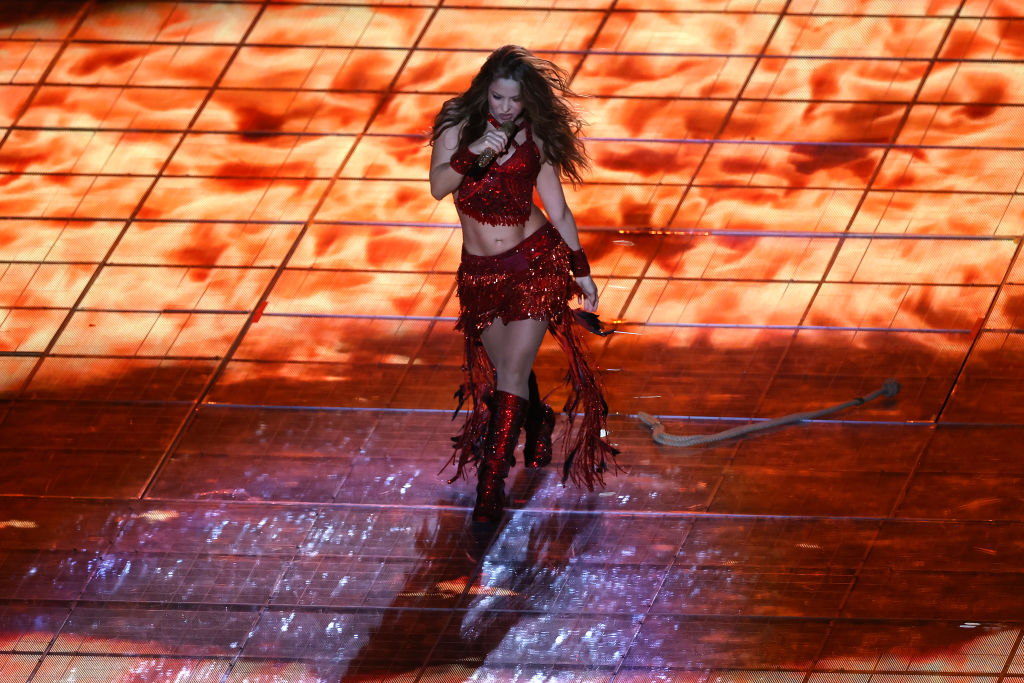 Shakira performs during the Pepsi Super Bowl LIV Halftime Show at Hard Rock Stadium on February 02, 2020 in Miami, Florida.