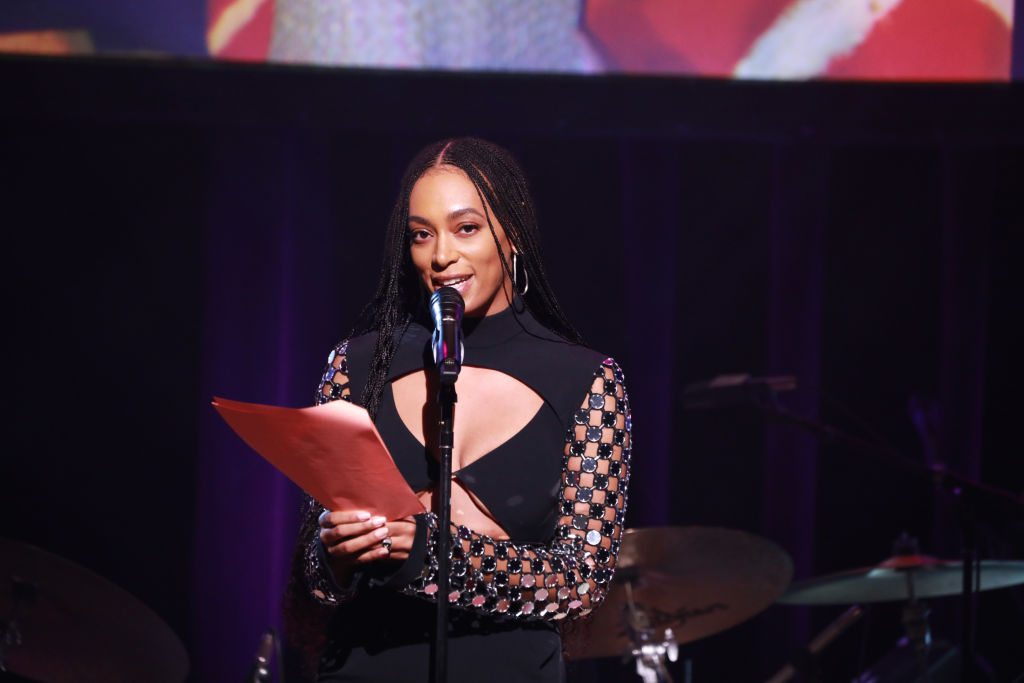 Solange Knowles speaks onstage at the Lena Horne Prize Event Honoring Solange Knowles Presented by Salesforce at the Town Hall on February 28, 2020 in New York City.