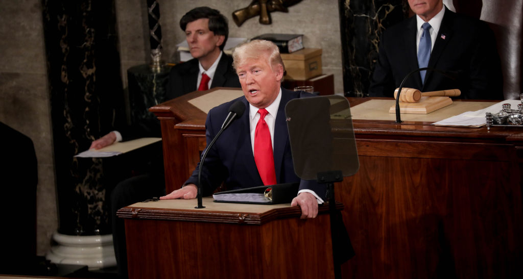 President Donald Trump delivers his State of the Union address at the U.S. Capitol in Washington D.C., on Feb. 04, 2020.