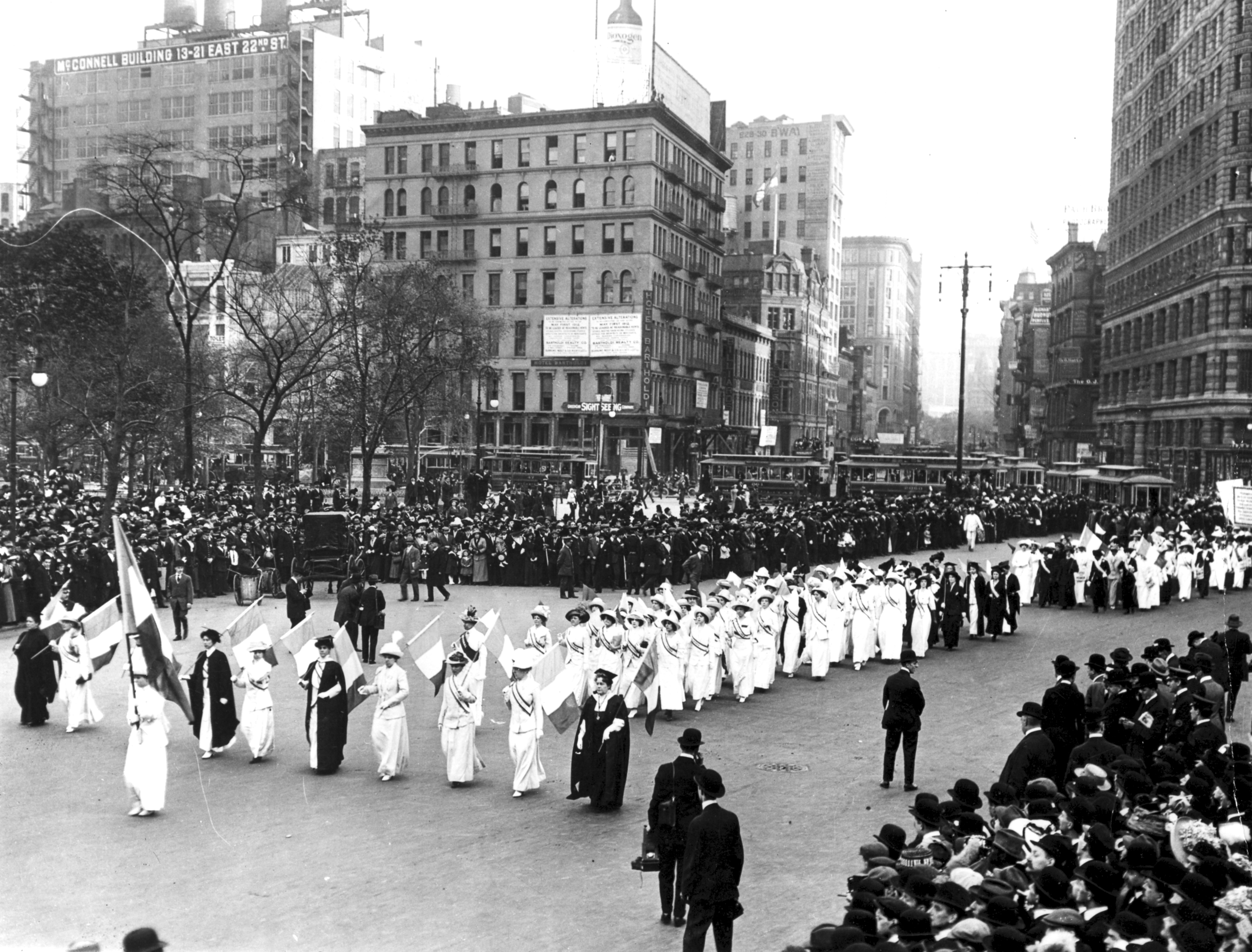 View of a suffrage march on Fifth Avenue, off Broadway and 23rd street, in New York City, 1912.