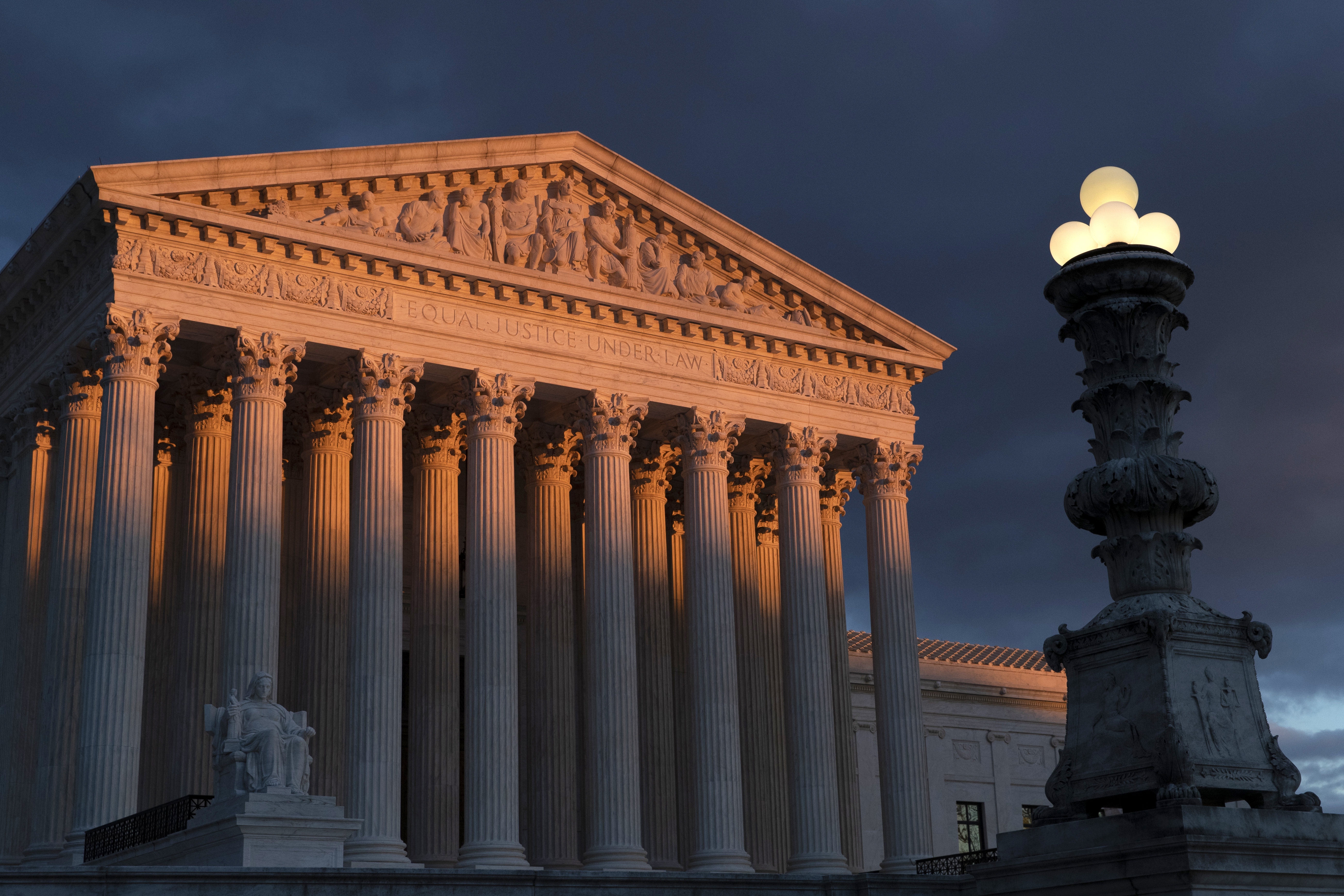 In this Jan. 24, 2019 file photo, the Supreme Court is seen at sunset in Washington.
