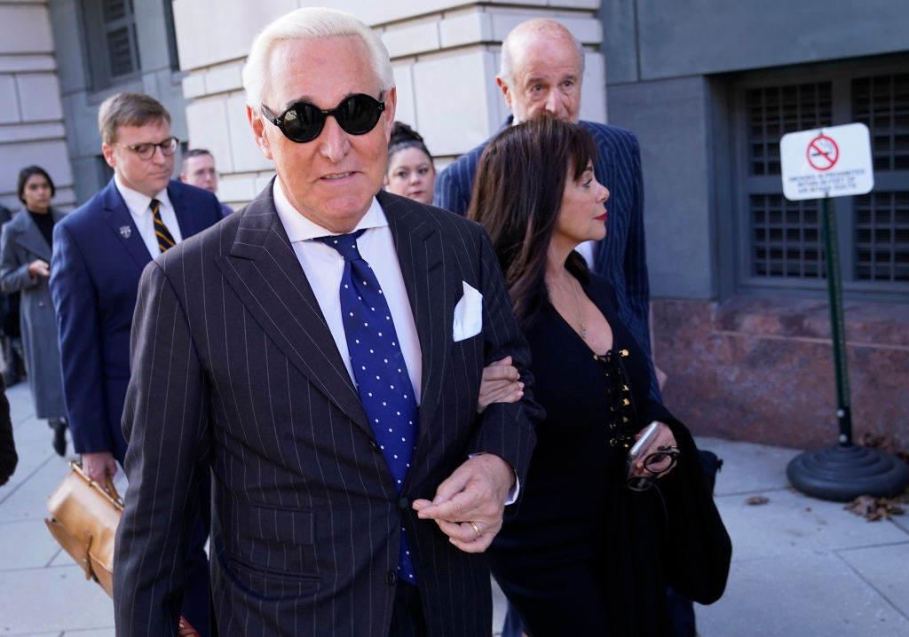 Former advisor to U.S. President Donald Trump, Roger Stone, departs the E. Barrett Prettyman United States Courthouse with his wife Nydia after being found guilty of obstructing a congressional investigation into Russia's interference in the 2016 election on November 15, 2019 in Washington, DC.